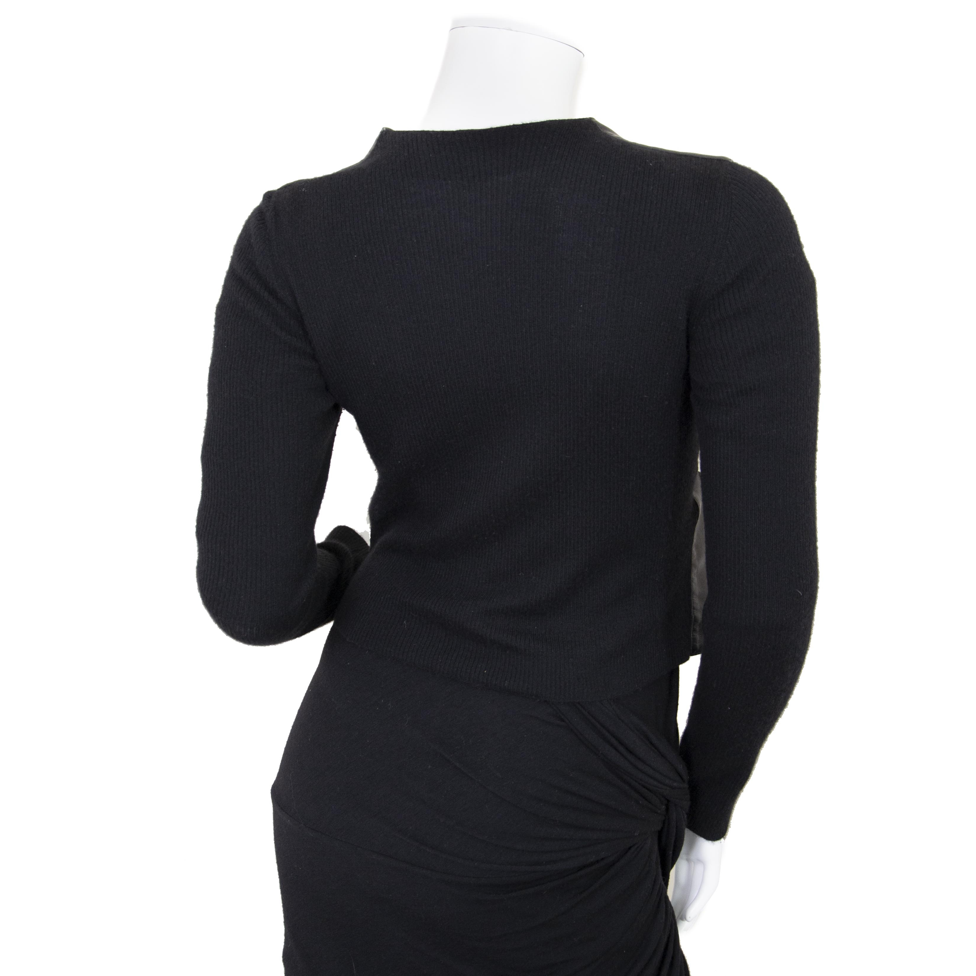 Authentiek Gucci Black Leather and Fabric Shirt - size 40 juiste prijs veilig online winkelen