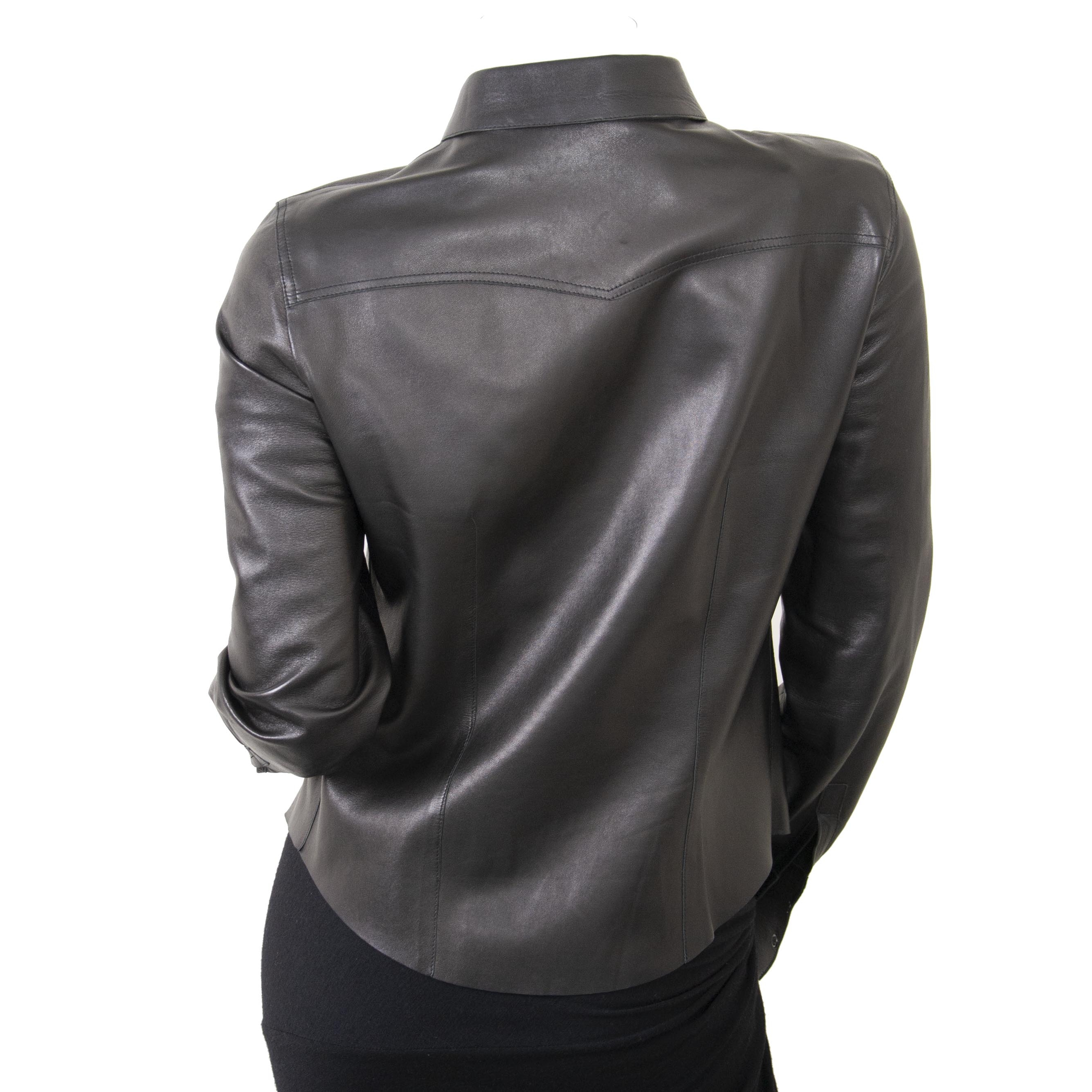 Gucci Black Leather Shirt - size 44