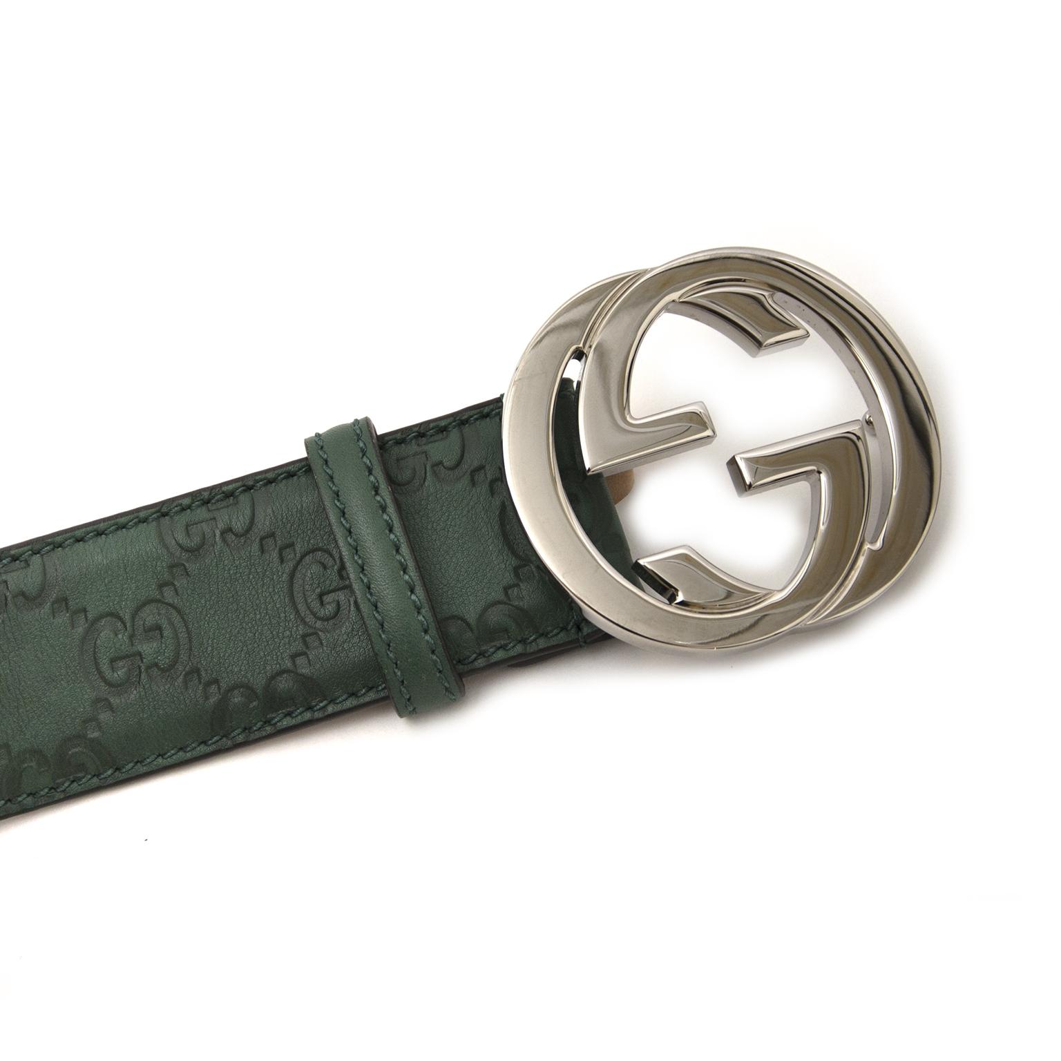 Gucci Green Logo Belt - size 95 te koop aan de beste prijs bij Labellov luxury in Antwerpen