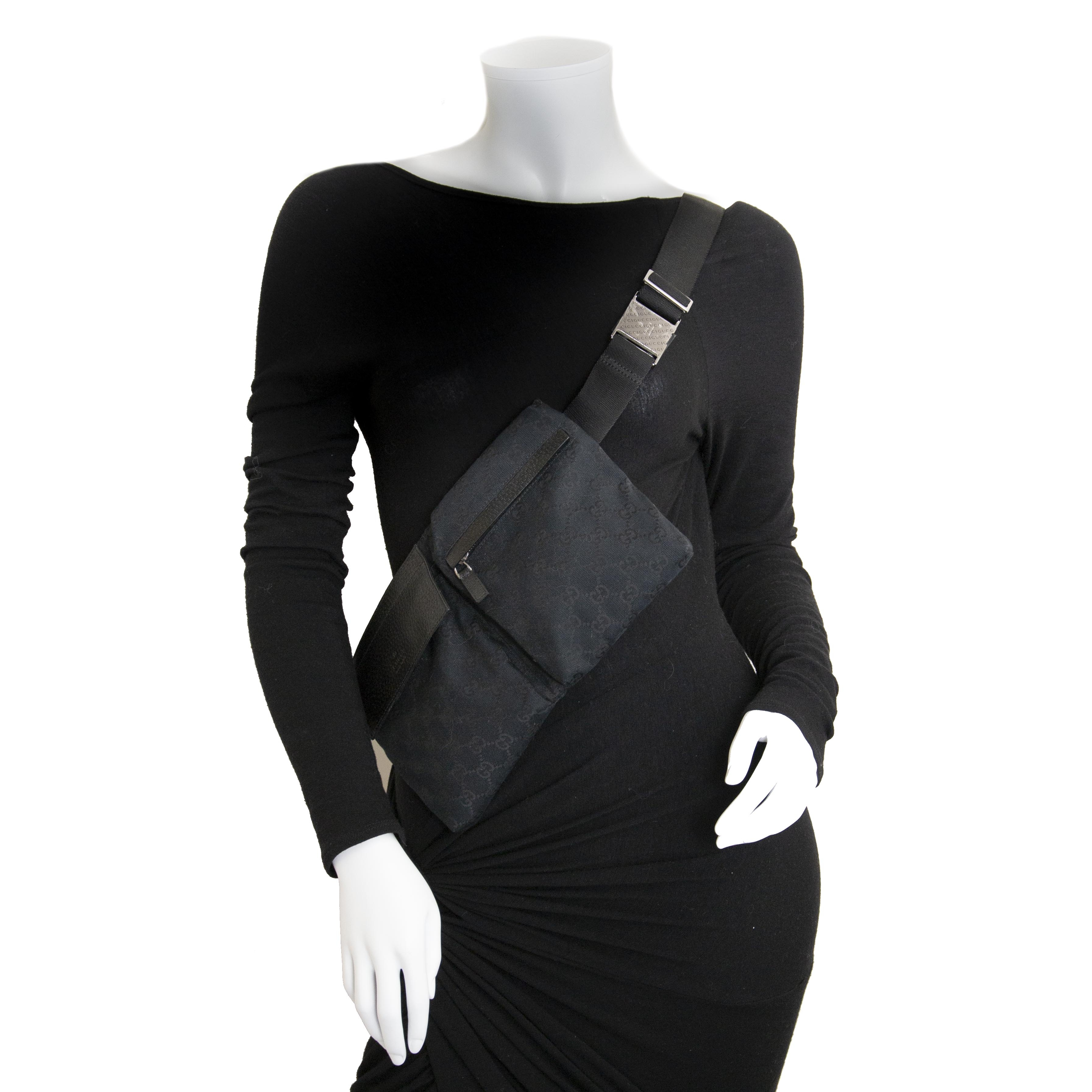 0c4c113b35f8 ... Gucci Black Monogram Belt Bag now for sale at labellov vintage fashion  webshop belgium