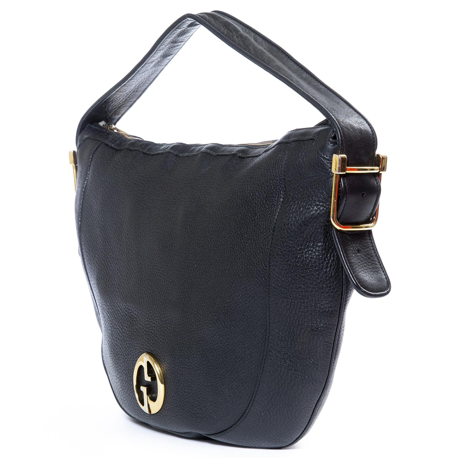 dbe907732b45 ... gucci black leather shoulder bag now for sale at labellov vintage  fashion webshop belgium