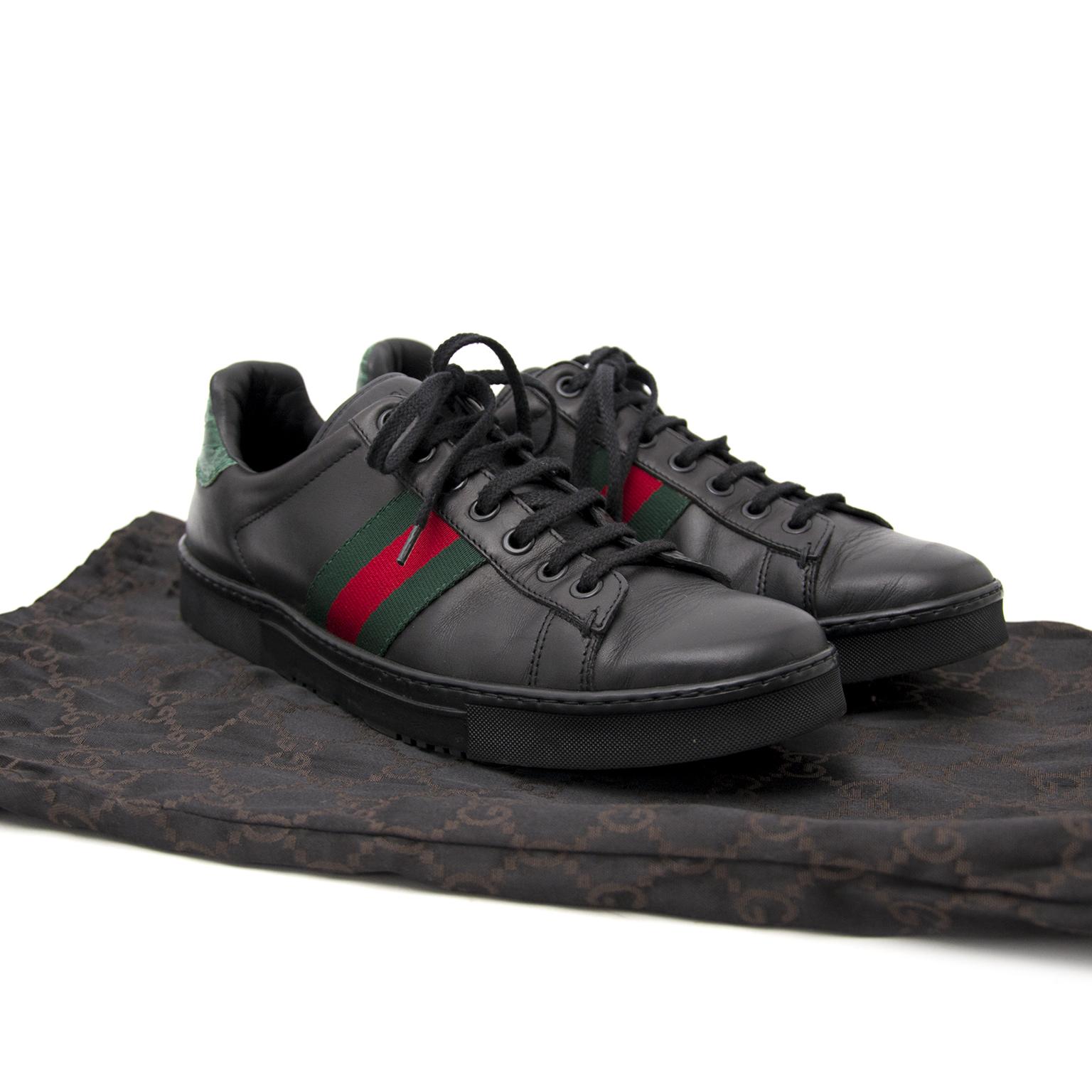 Acheter en ligne chez Labellov.com Gucci Leather Sneakers Nero Verdo Rosso Size 36,5
