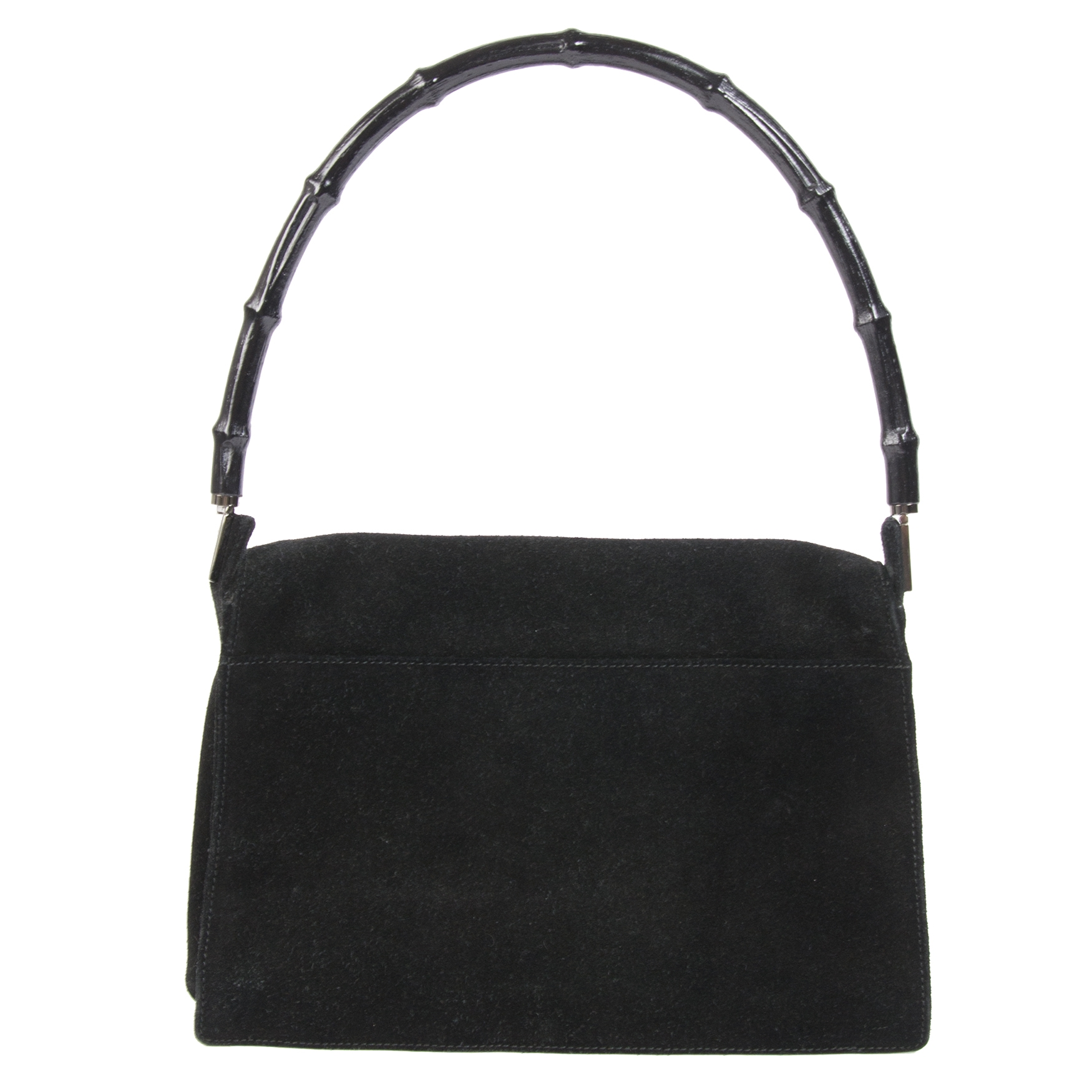 Gucci Black Suede Bamboo Shoulder Bag available at Labellov secondhand luxury in Antwerp