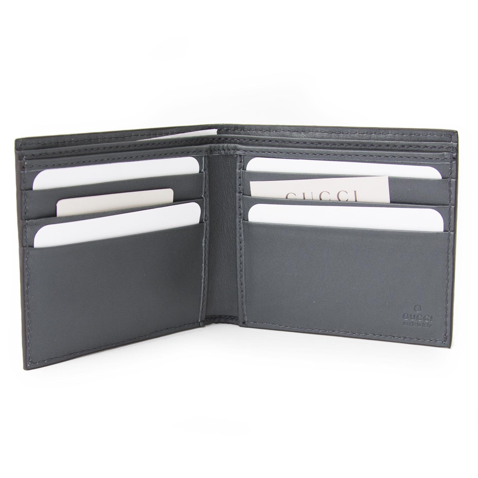 100% authentique Gucci Blue Grey Bi-Fold Guccissima portefeuille pour le meilleur prix