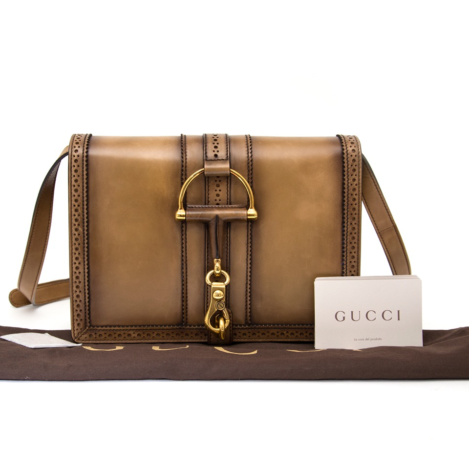 100% authentic with certificates Gucci Duilio Brogue Leather Shoulder Bag