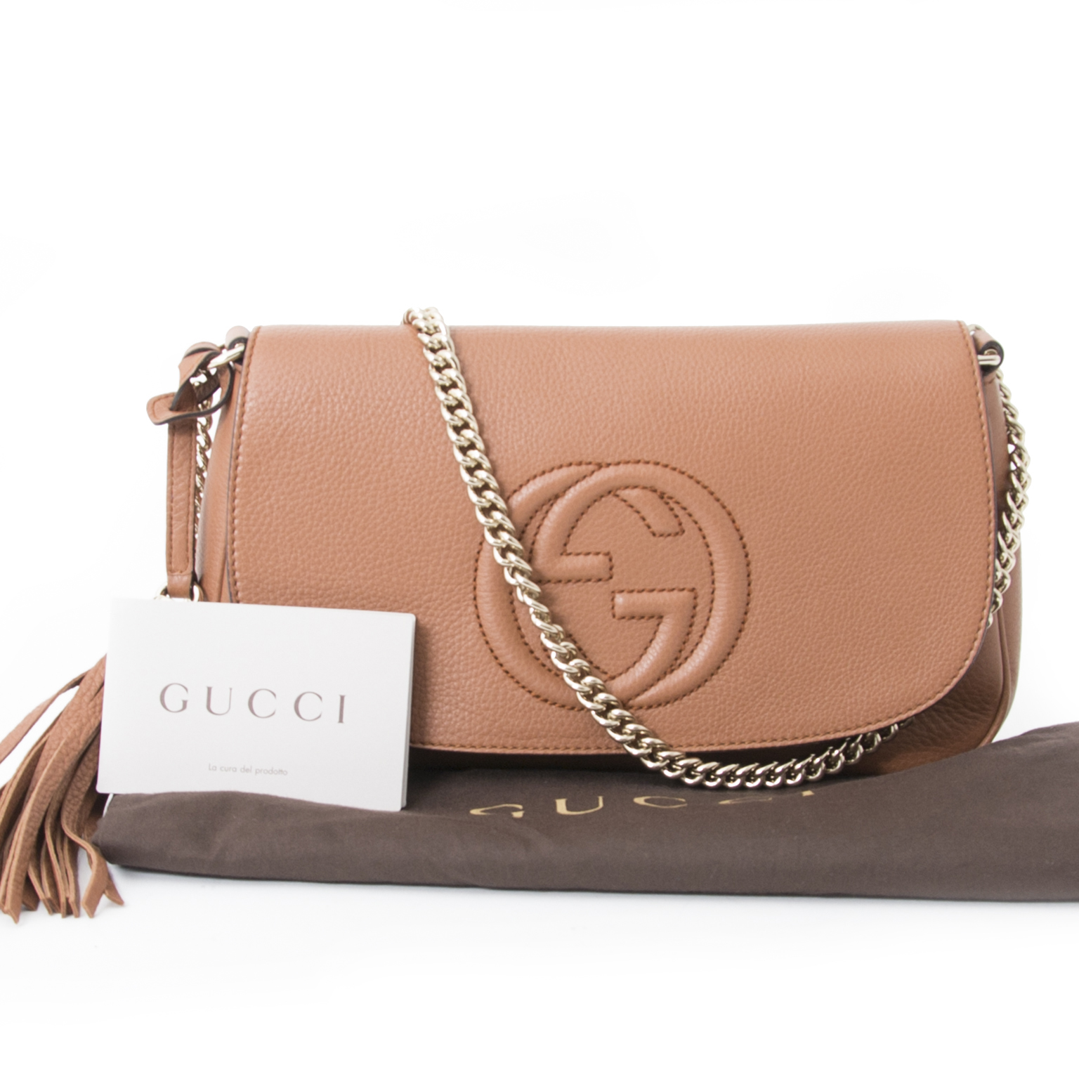34695ceb96a Buy authentic Gucci Soho Cognac Shoulder Bag at the right price at LabelLOV  vintage webshop.