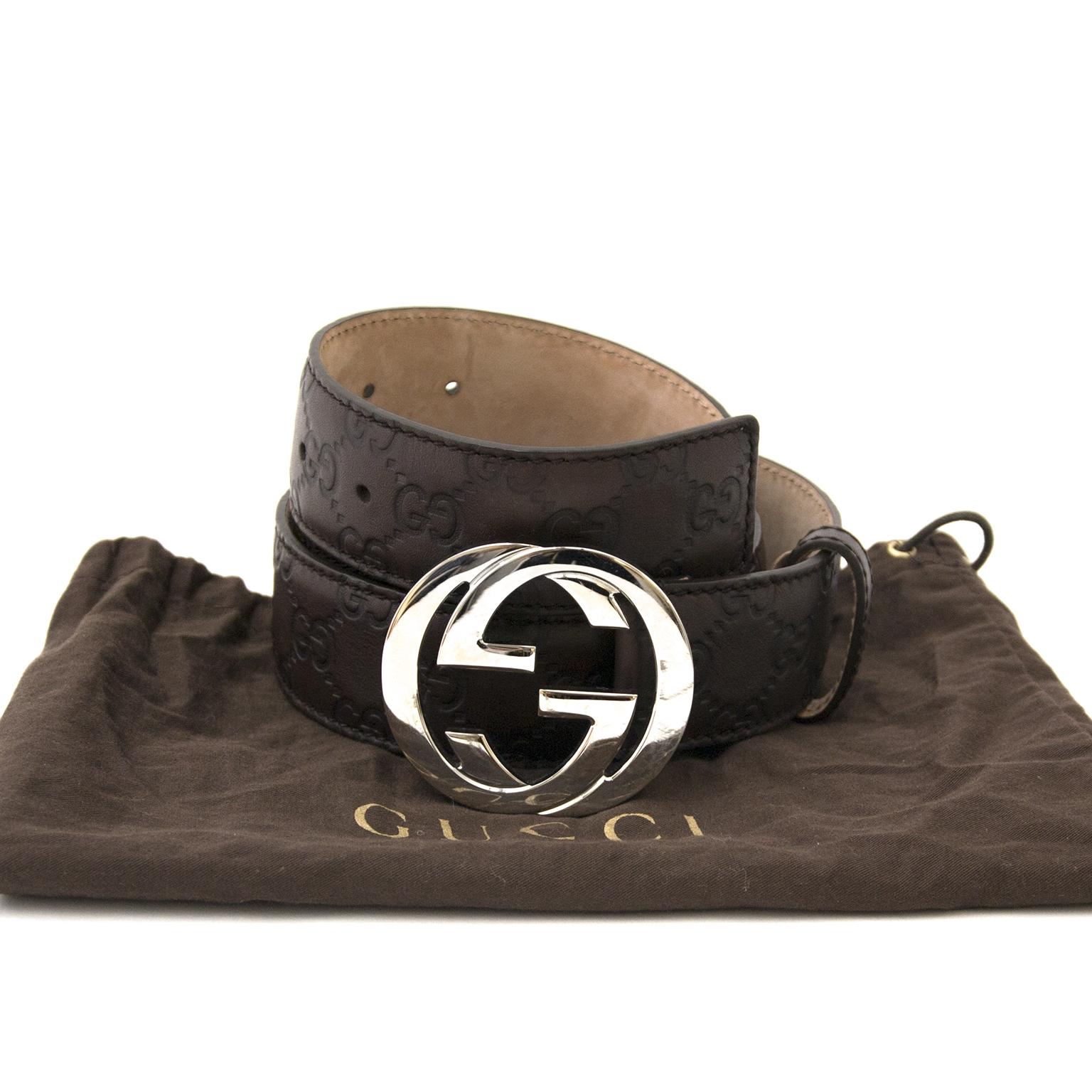 Gucci brun  logo ceinture en cure en ligne chez labellov.com pour le meilleur prix