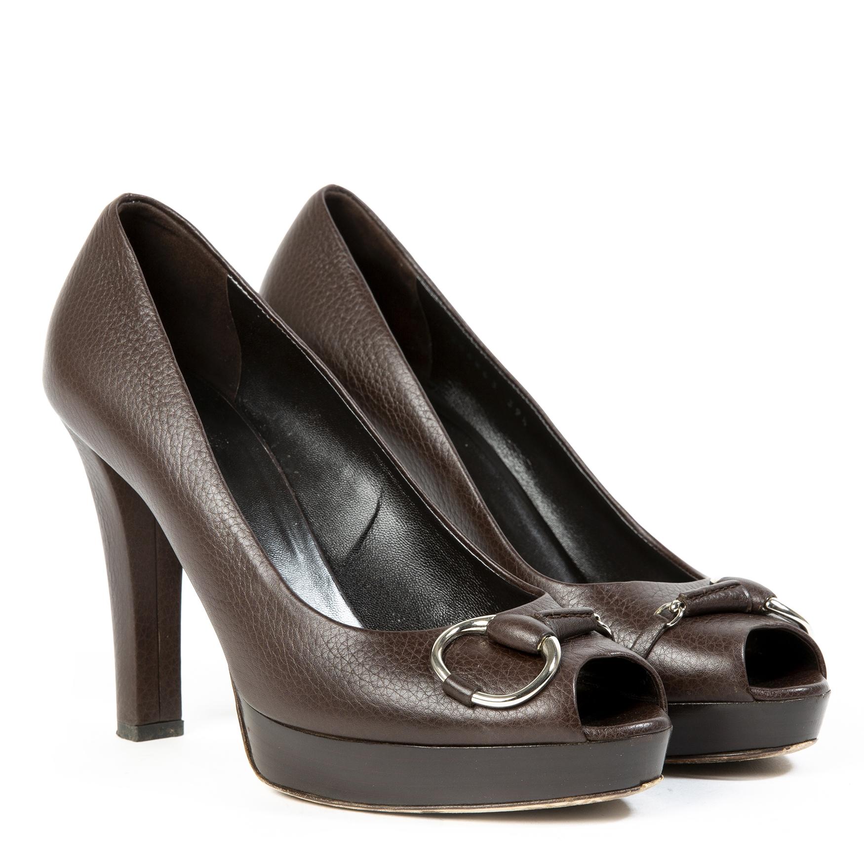 gucci brown horsebit peep-toe pumps now for sale at labellov vintage fashion webshop belgium