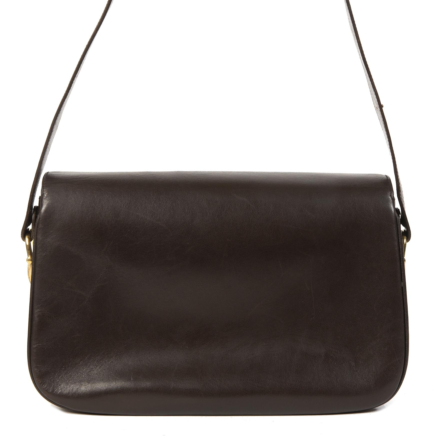 100% authentic Gucci Vintage Dark Brown Leather Zumi Flap Bag