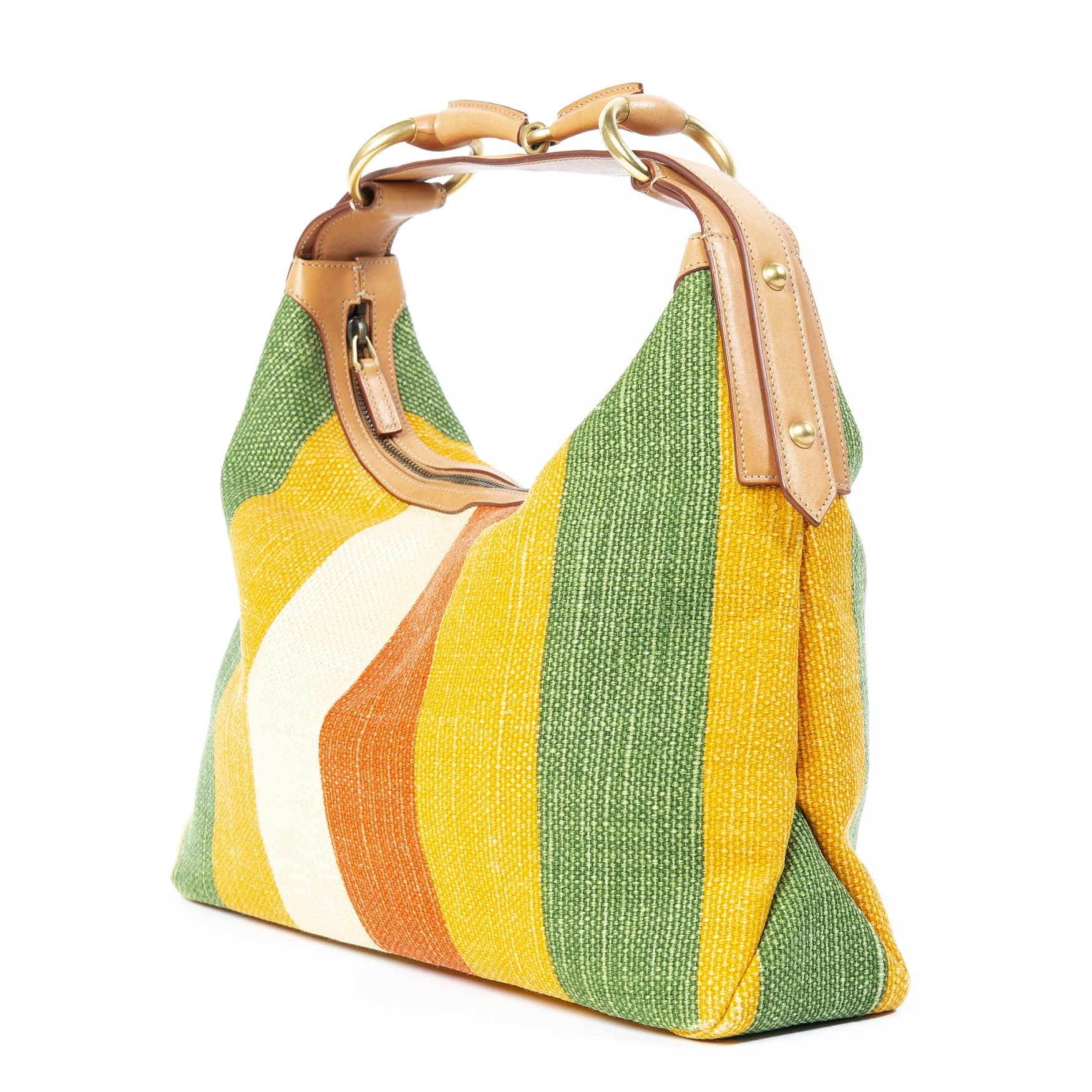 Gucci Multicolor Striped Horsebit Bag now for sale at labellov vintage fashion webshop belgium