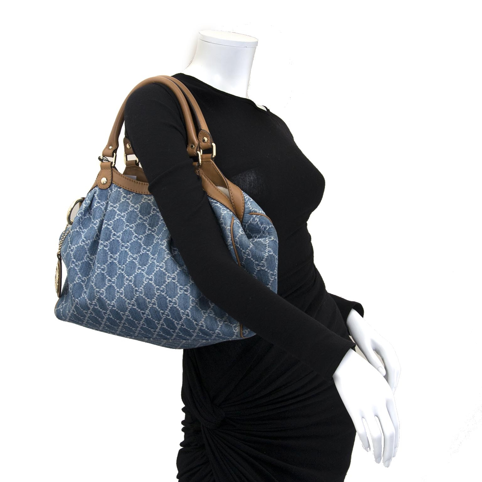 gucci blue monogram guccissima denim sukey tote bag now for sale at labellov vintage fashion webshop belgium
