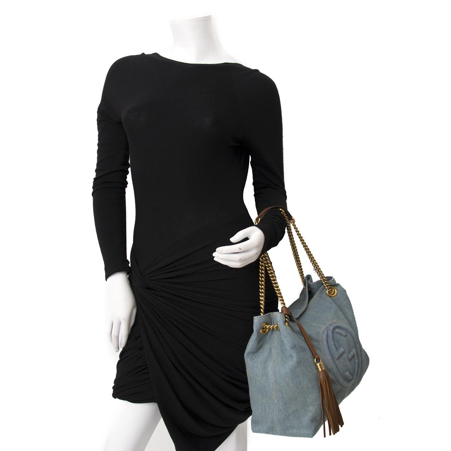 Koop Gucci Soho Medium Blue Denim Tote online