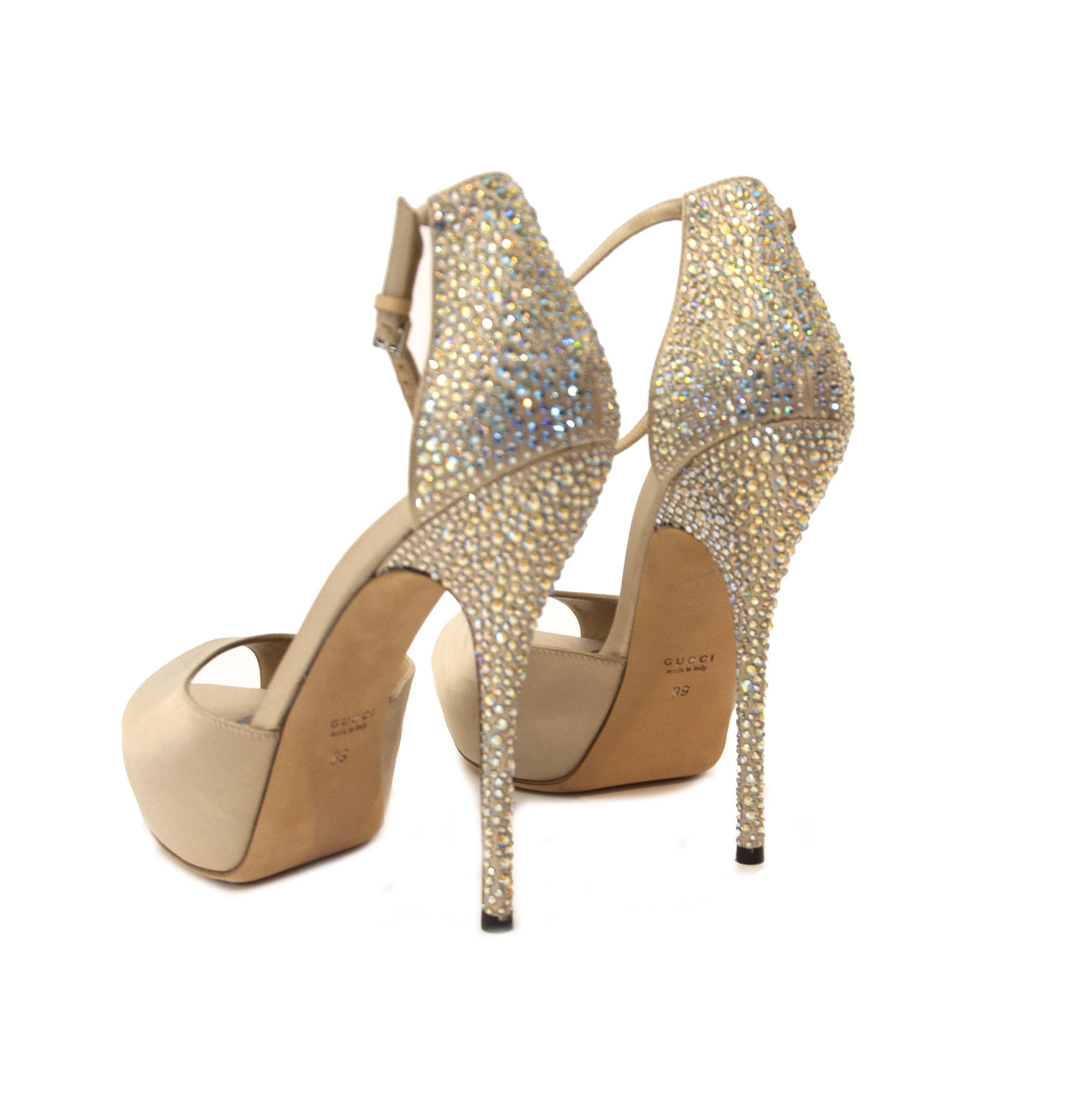 Gucci Nude Satin and Swarovski Heels - size 39