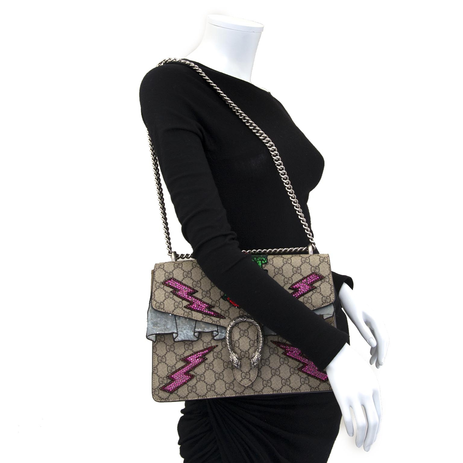 gucci gg dionysus supreme ebroidered monogram shoulder bag now for sale at labellov vintage fashion webshop belgium
