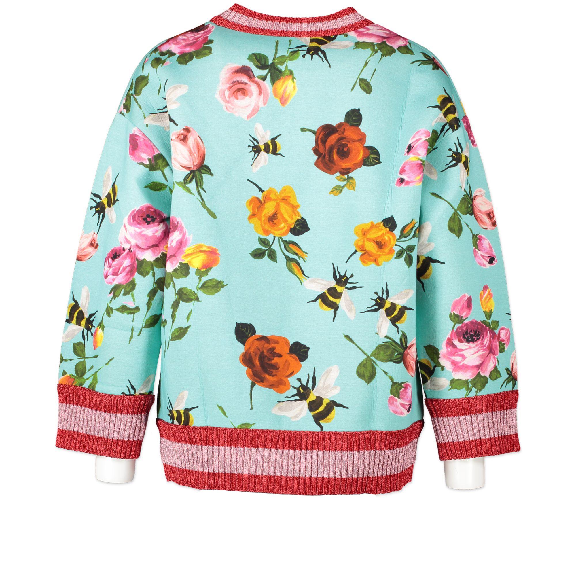 Gucci Blue Neoprene Bees & Roses Web Sweater - size S - te koop bij tweedehands boetiek Labellov