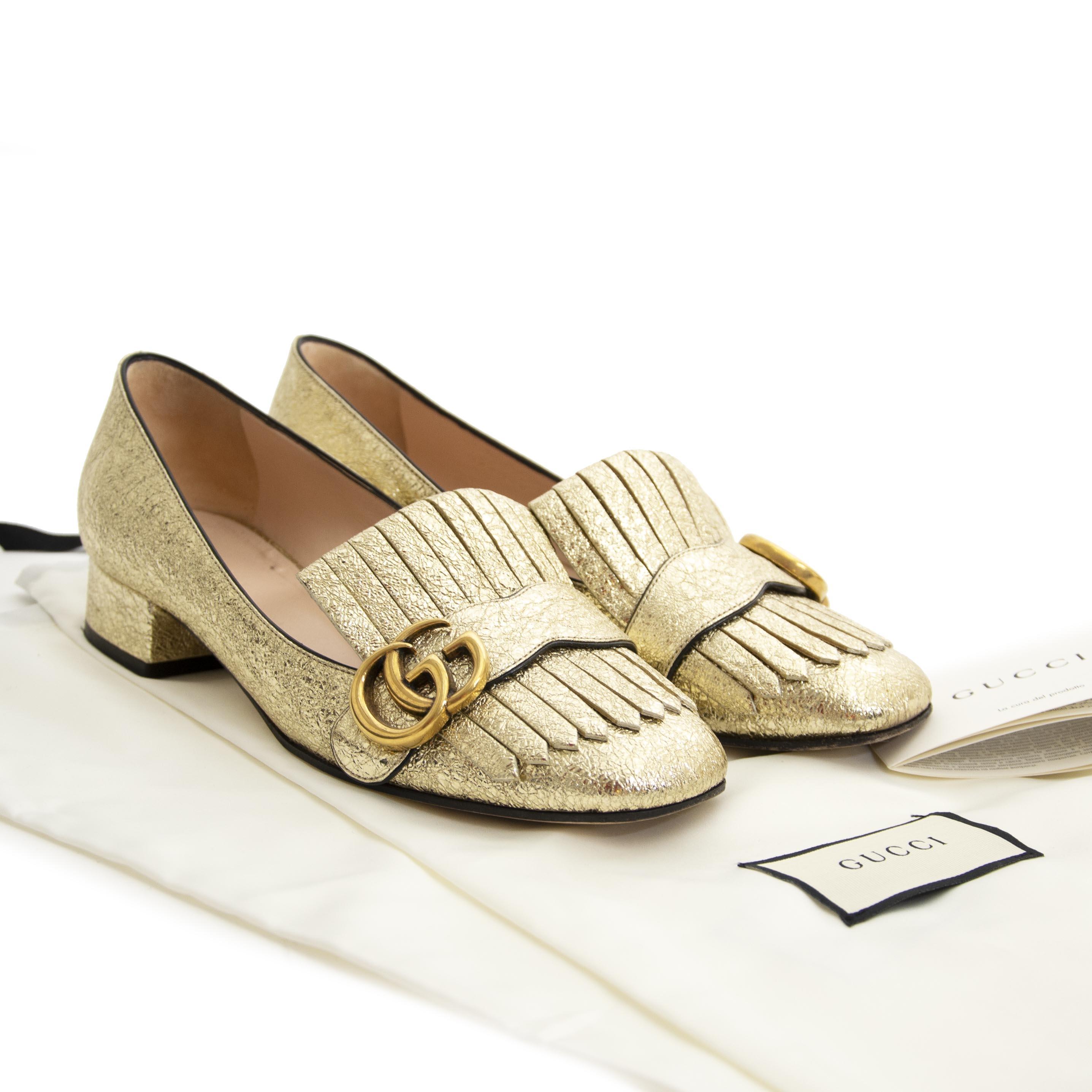 Gucci Marmont Gold Metallic Pumps - size 37  online tegen de beste prijs