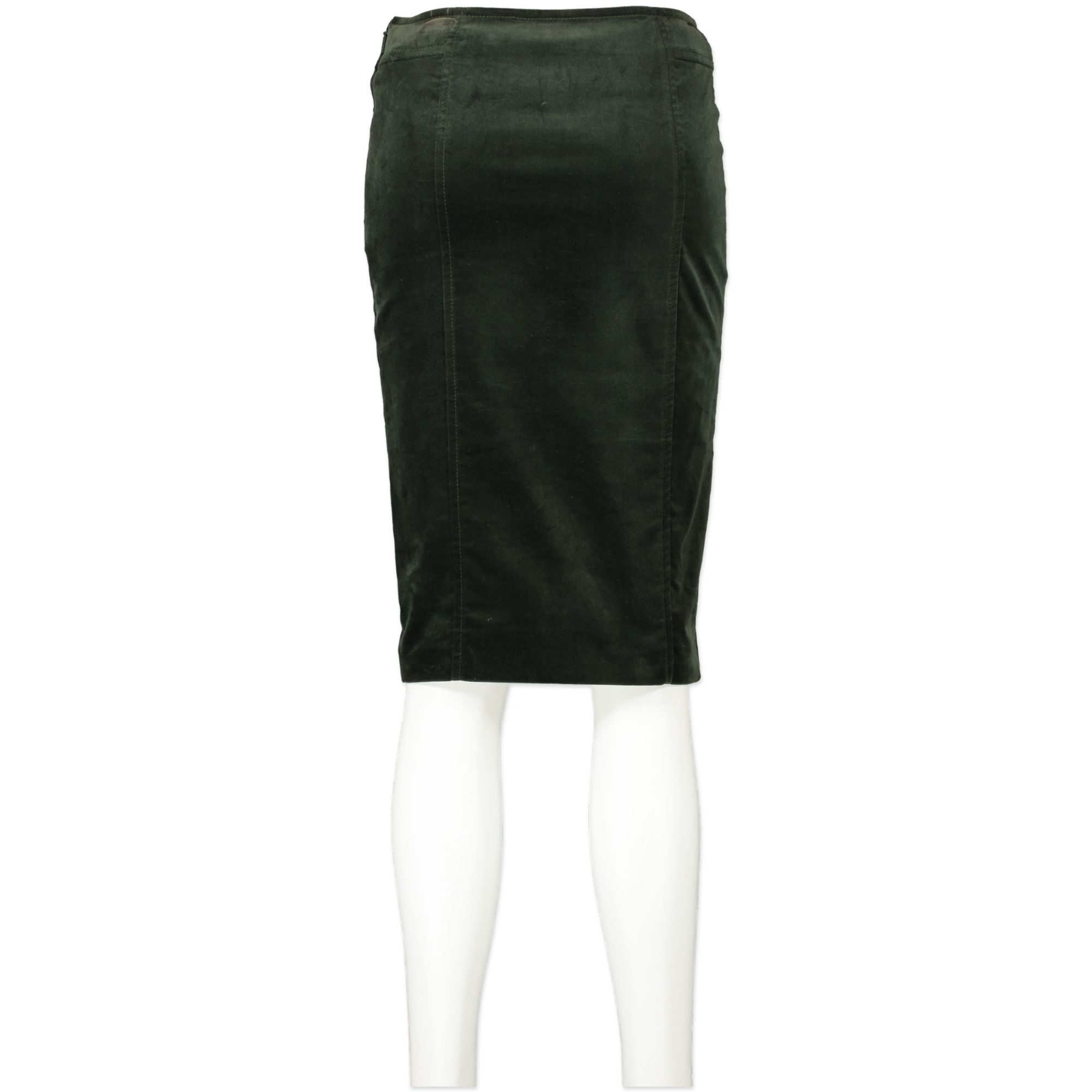 Gucci Forest Green Velvet Midi Pencil Skirt - IT 38