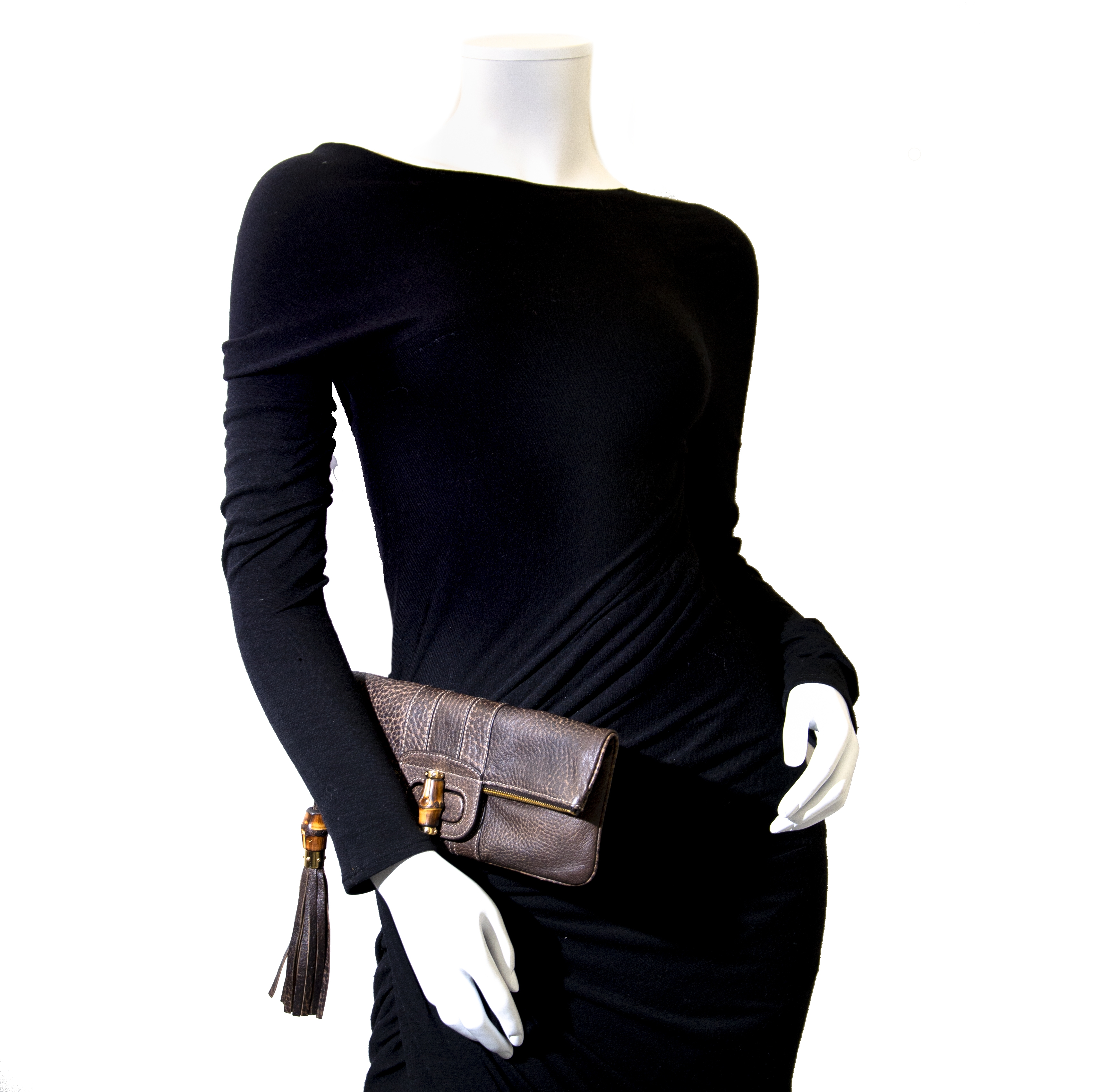 Gucci Brown Leather Fold Over Bamboo Clutch Bag kopen en verkopen aan de beste prijs