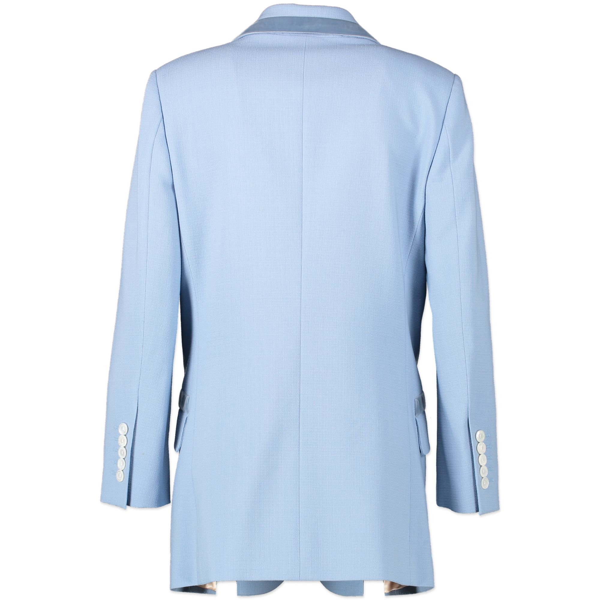 Gucci Blue Velvet Trimmed Wool Blazer - IT 40