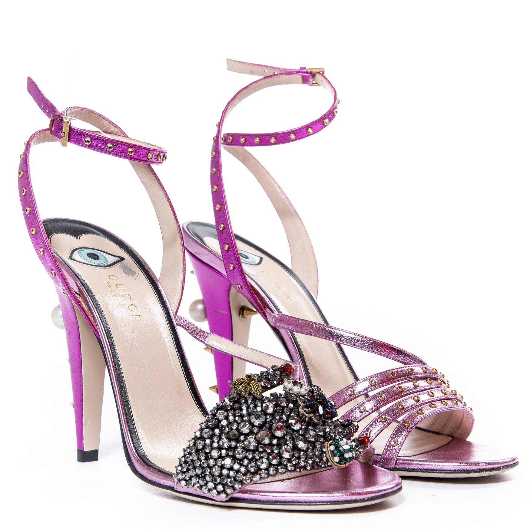 Gucci Fuschia Metallic Crystal Embellished Heels Sandals