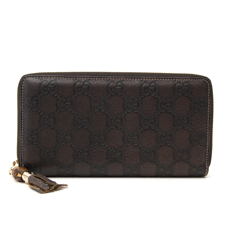 koop online aan de beste prijs Gucci Dark Brown Monogram Wallet