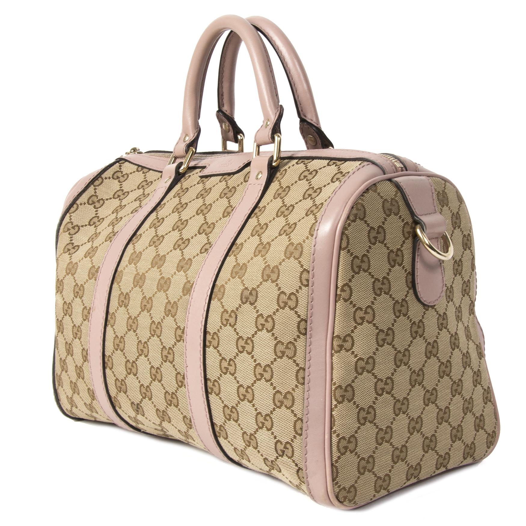 Authentieke tweedehands Gucci Monogram Boston Medium Bag Lila juiste prijs veilig online winkelen LabelLOV webshop luxe merken winkelen Antwerpen België mode fashion