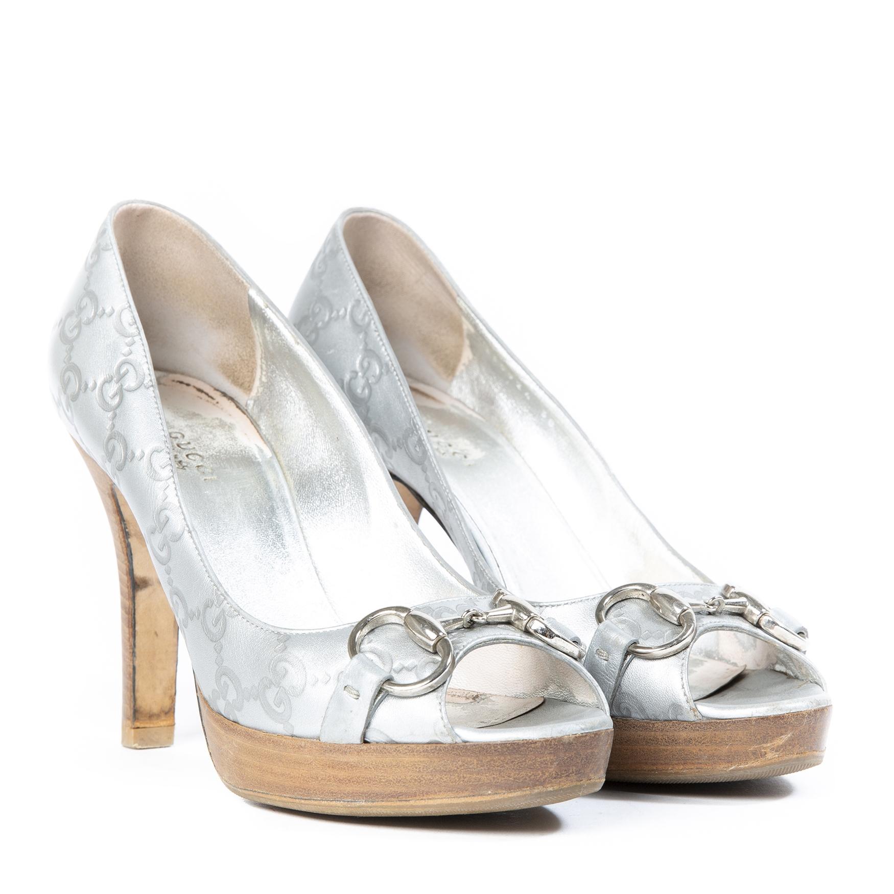 Gucci Silver Monogram Peep Toe Heels