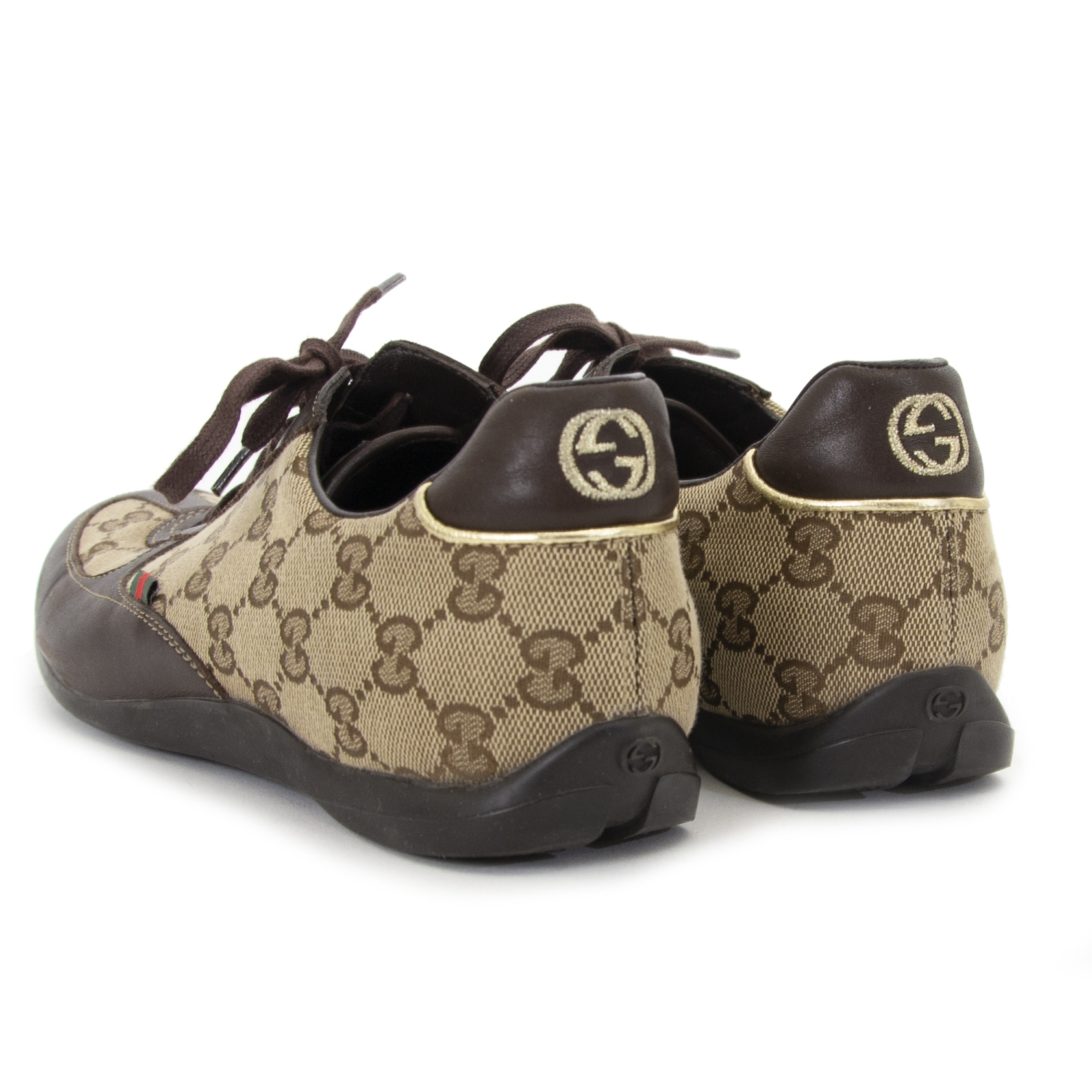 873ea07c9d45 ... Gucci Grand Prix GG Beige Ebony Sneakers now for sale at labellov  vintage fashion webshop belgium
