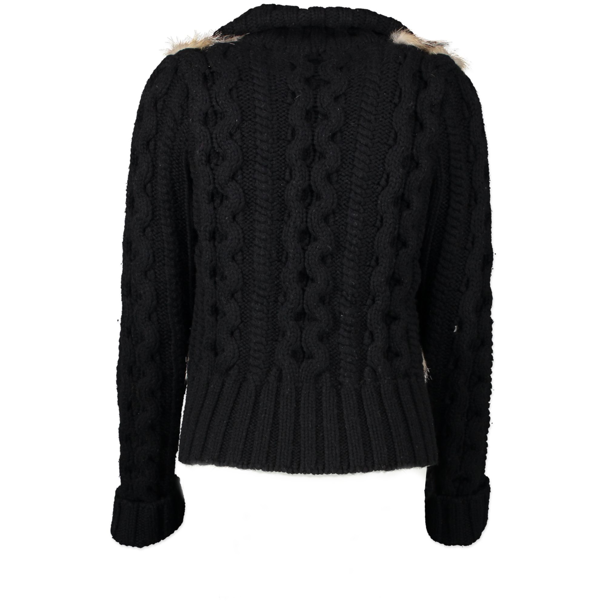 We buy and sell your authentic Gucci Black Fur Cable Knit Sweater Jacket