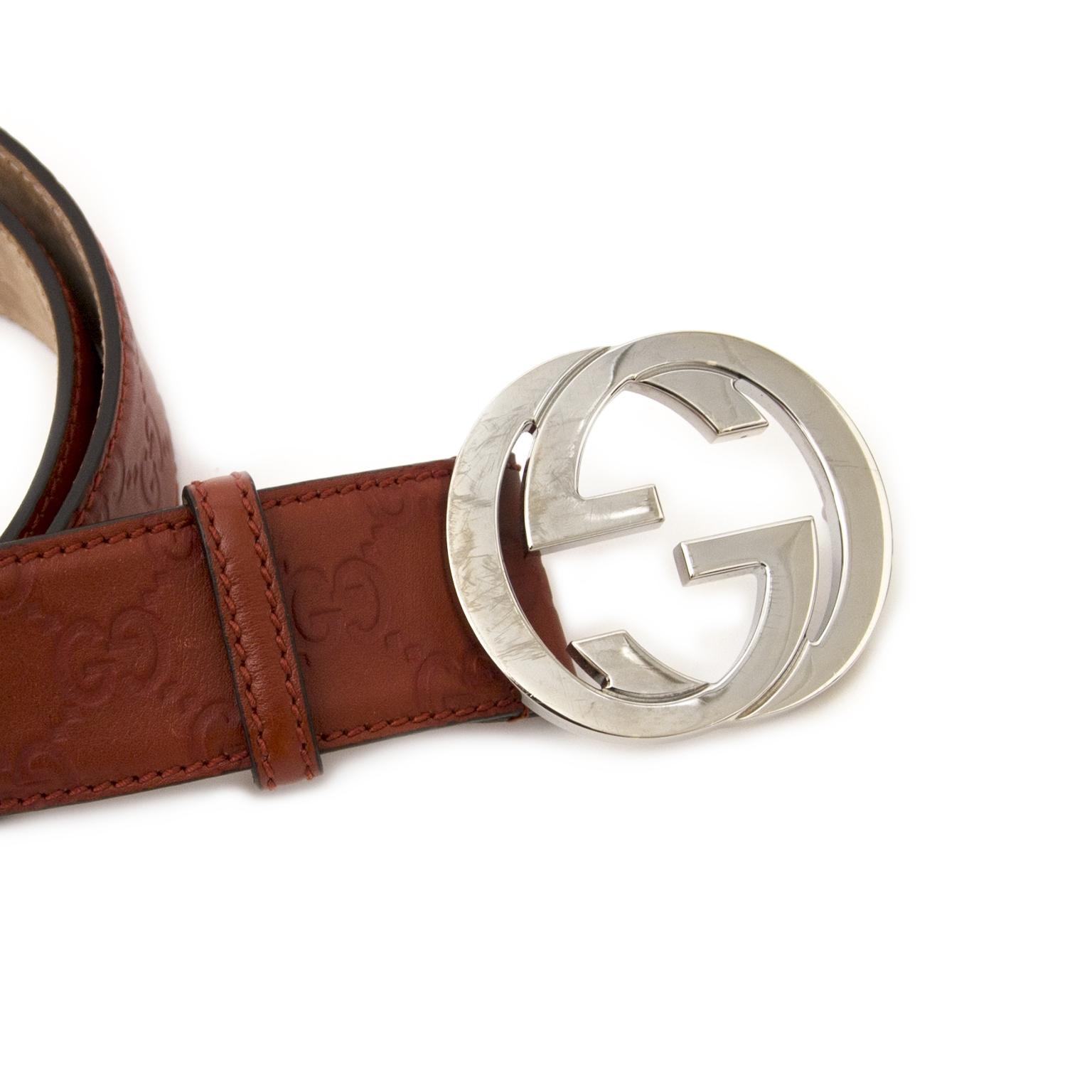 Koop uw authentieke designer Gucci Rusty Red Logo Leather Belt - size 95 aan de beste prijs