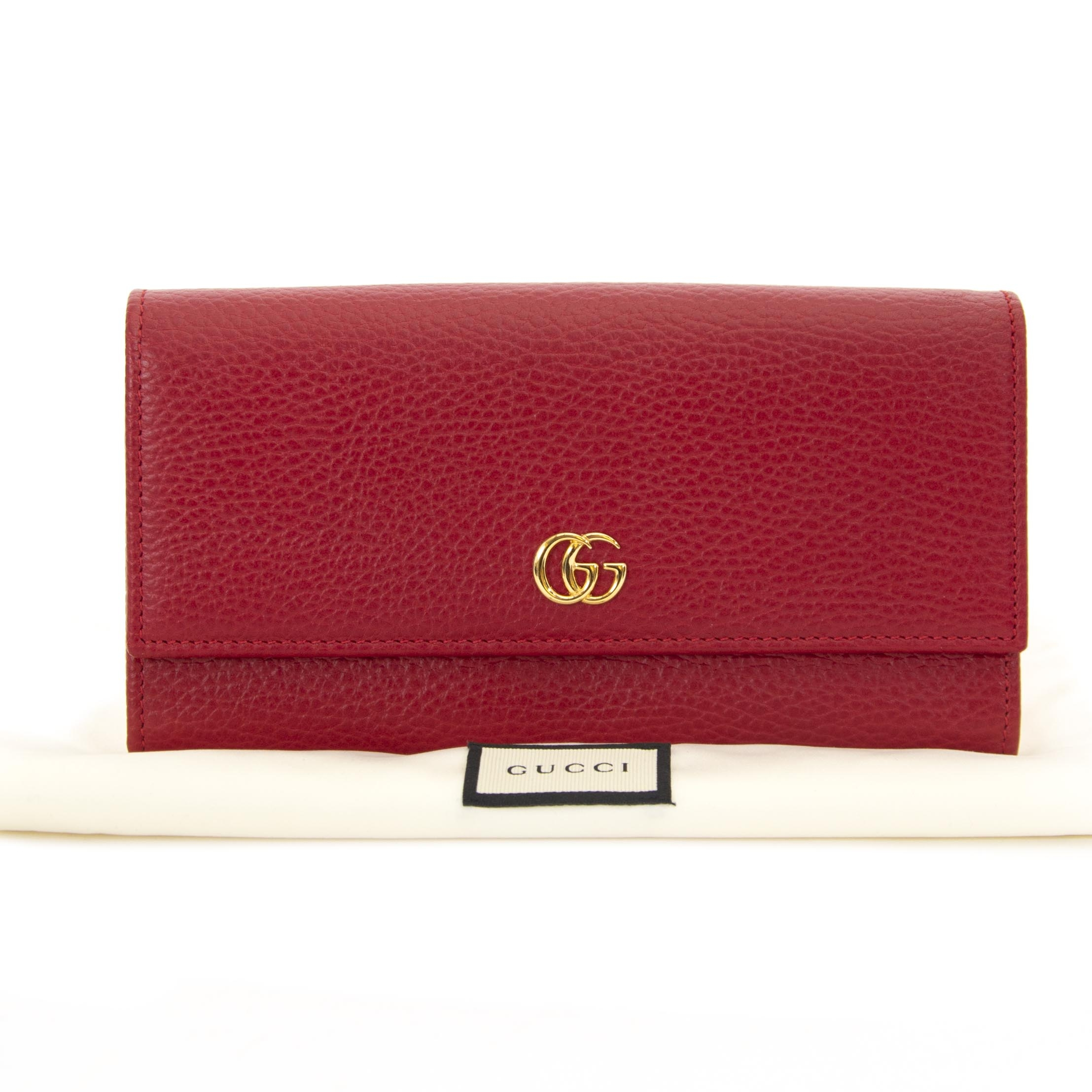 Gucci Red Leather Continental Wallet now for sale at labellov vintage fashion webshop belgium