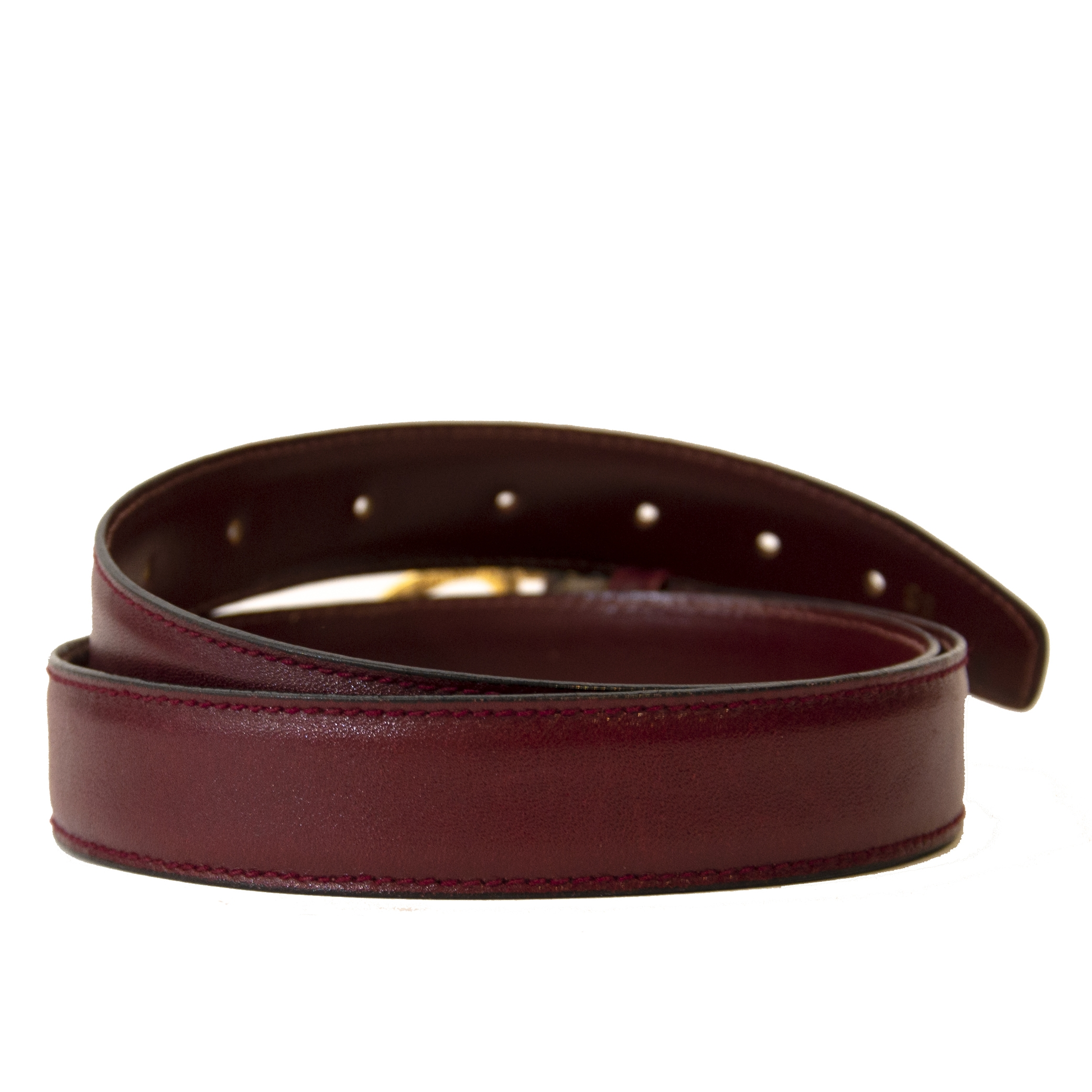 Authentic second-hand vintage Gucci Burgundy GG Belt buy online webshop LabelLOV