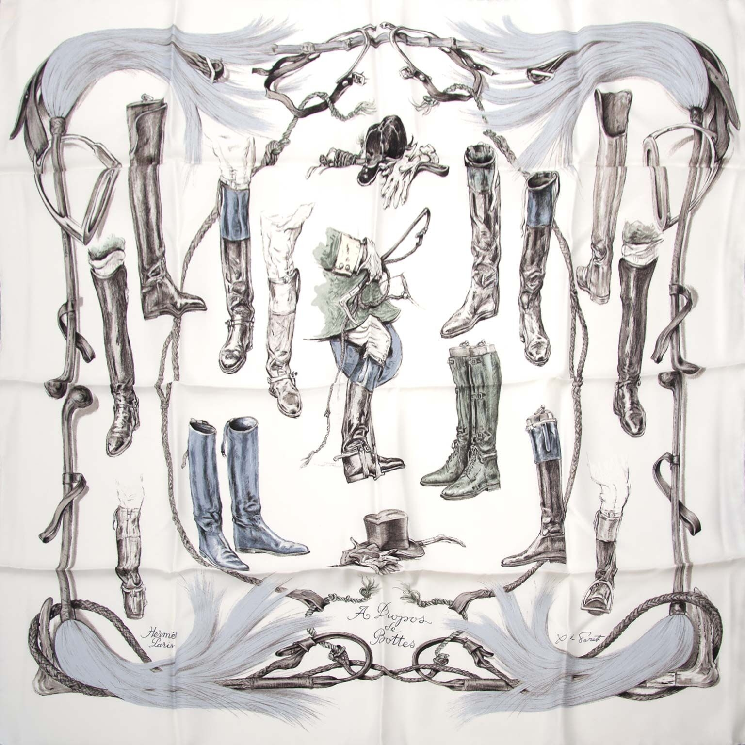 buy Hermes Carre Silk Scarf A propos De Bottes at labellov for a good price