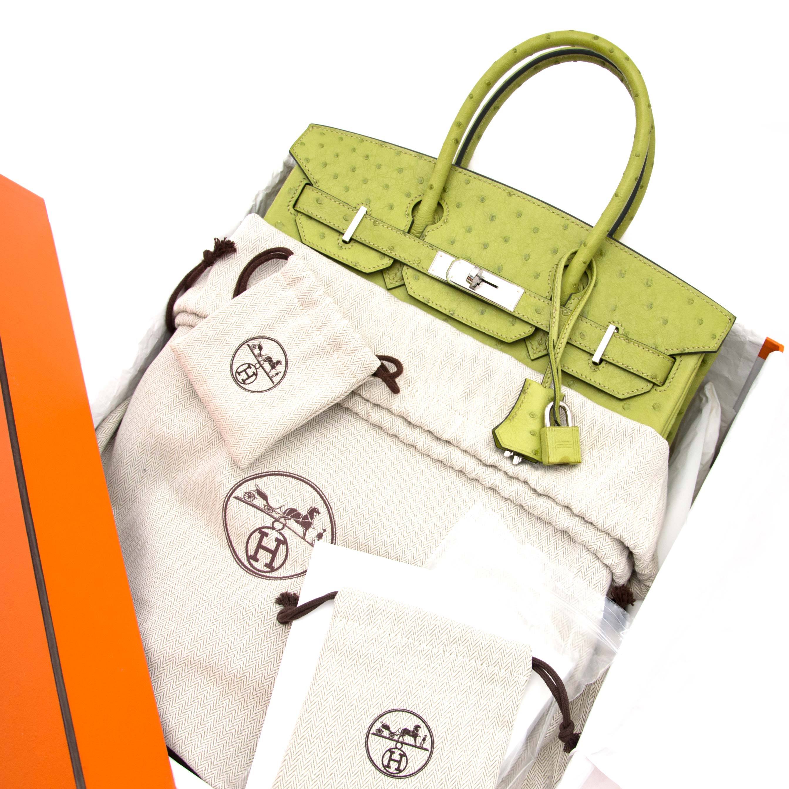buy safe and secure online at labellov.com and get your hermes birkin 30 ostrich green anis phw right now.