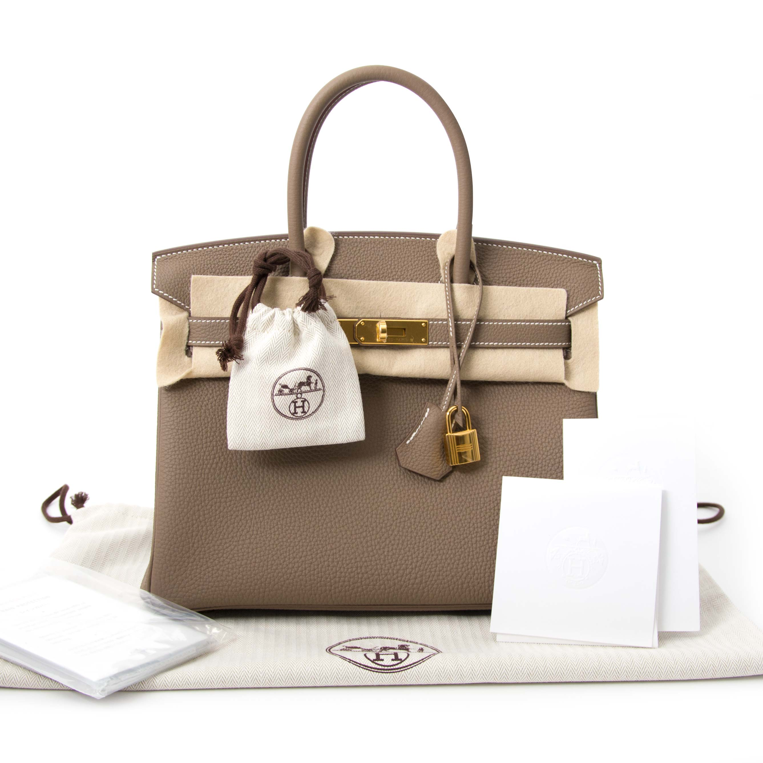 Buy and sell your authentic Hermès Birkin 30 Etoupe Togo GHW