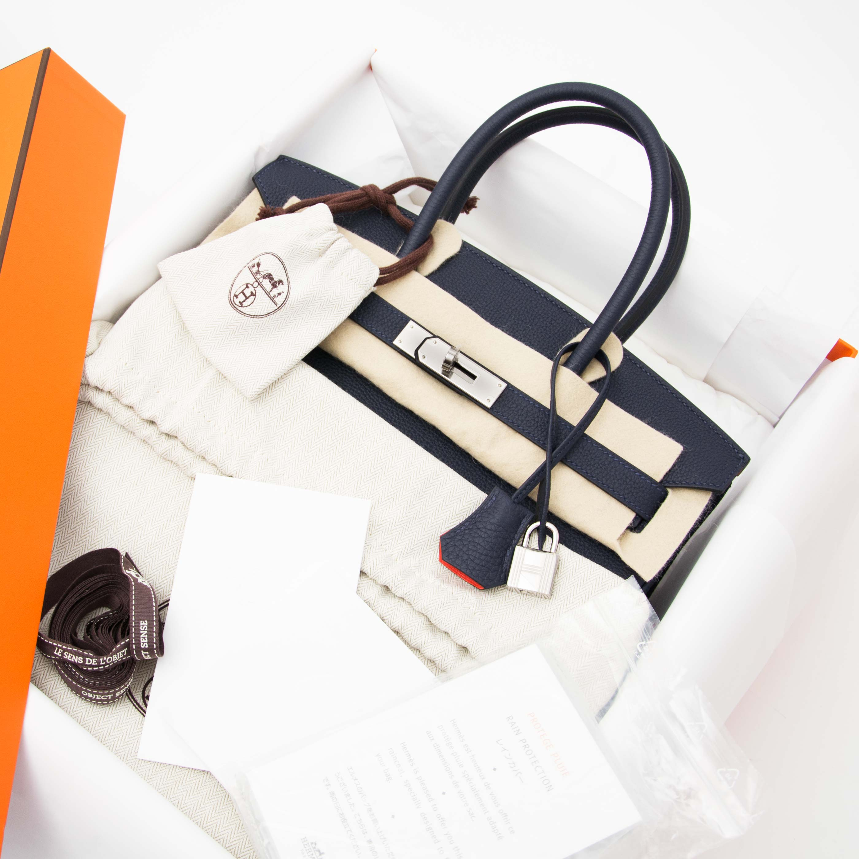 Buy safe and secure online at labellov.com Hermès Birkin 30 Bleu nuit and orange poppy phw
