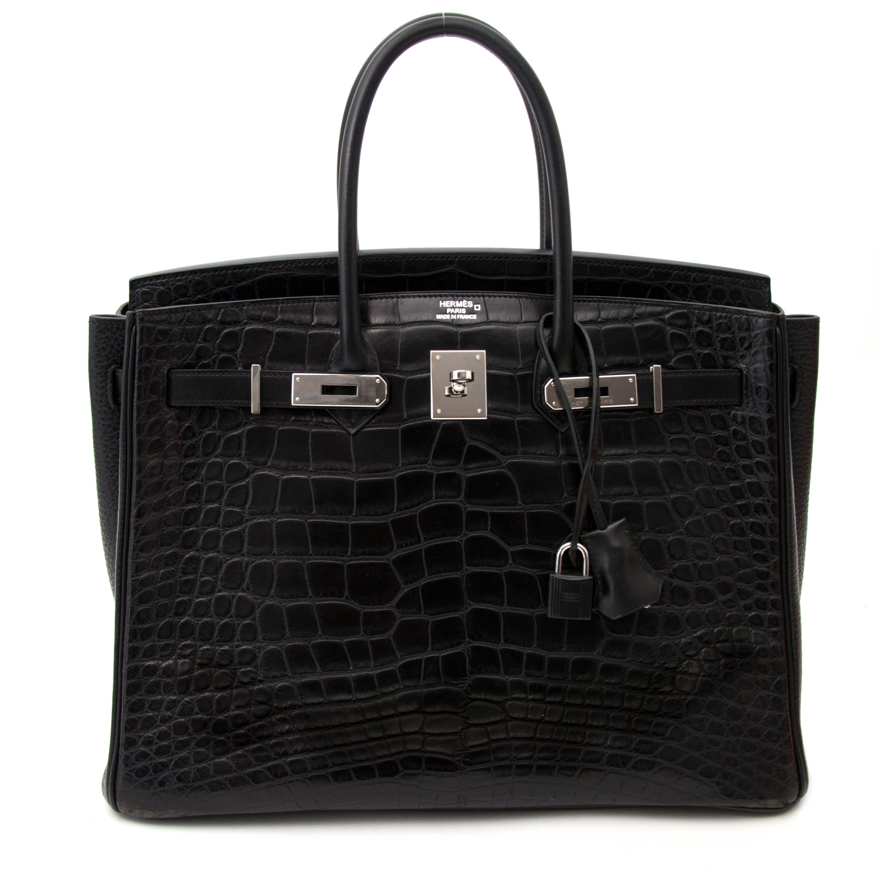extremely rare hard to find 100ù authentic invoice included Super Rare Hermes Black Birkin 35 Three Skin  (Alligator, Clemence Taurillon, BoxCalf)