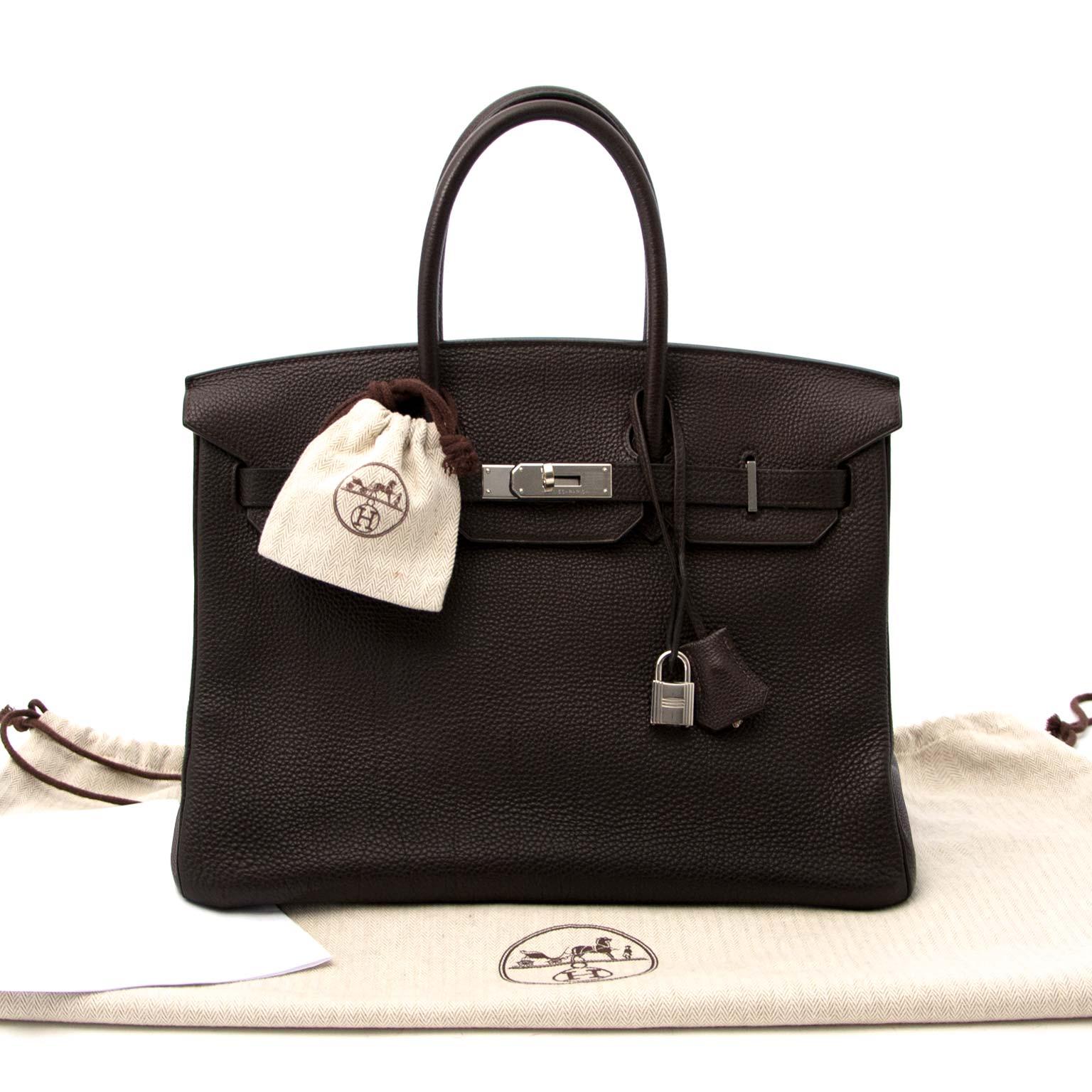 koop veilig online aan de beste prijs Hermes Birkin 35 Togo Chocolat Chevre Pigmente PHW