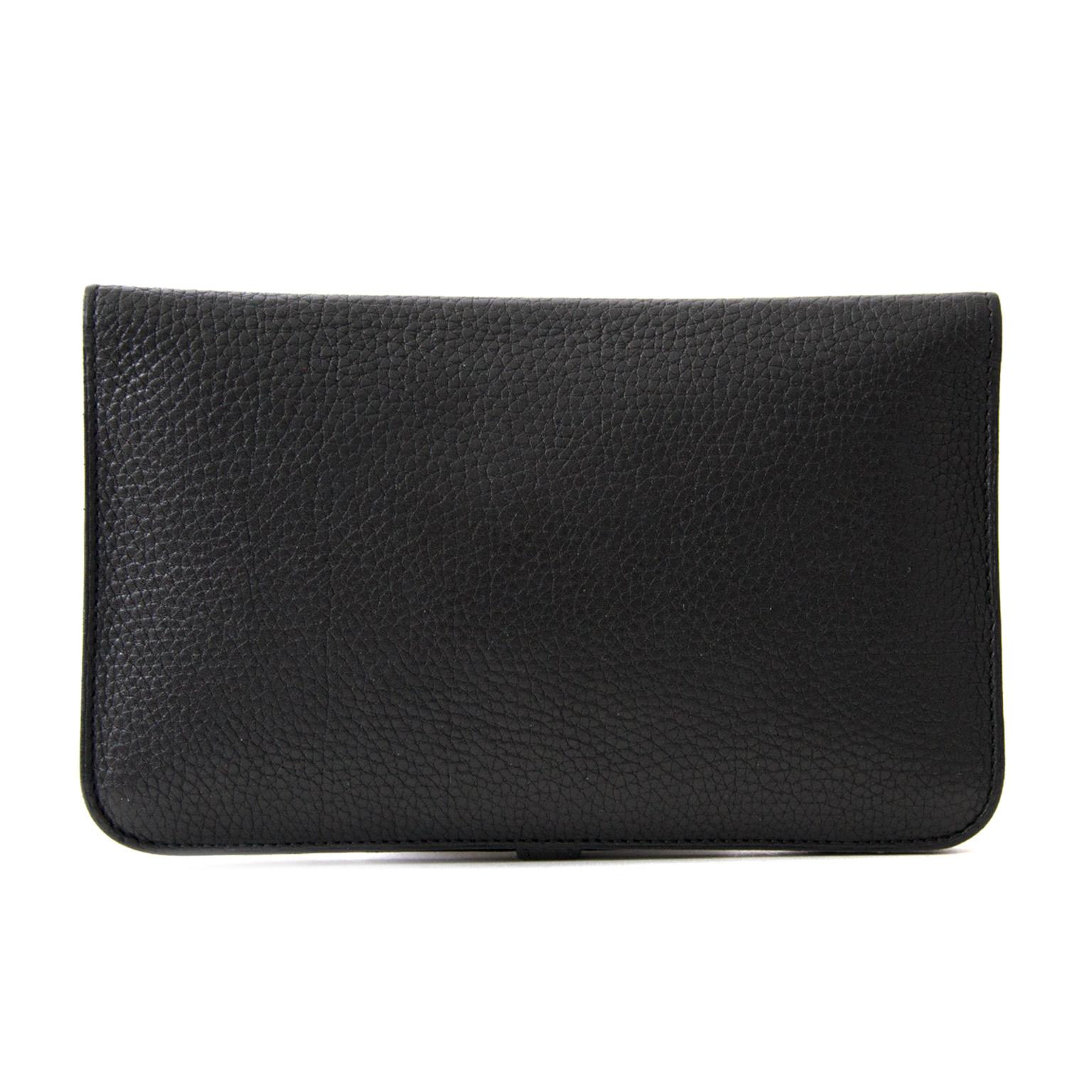comme neuf Hermès Dogon Black Wallet pour le meilleur prix