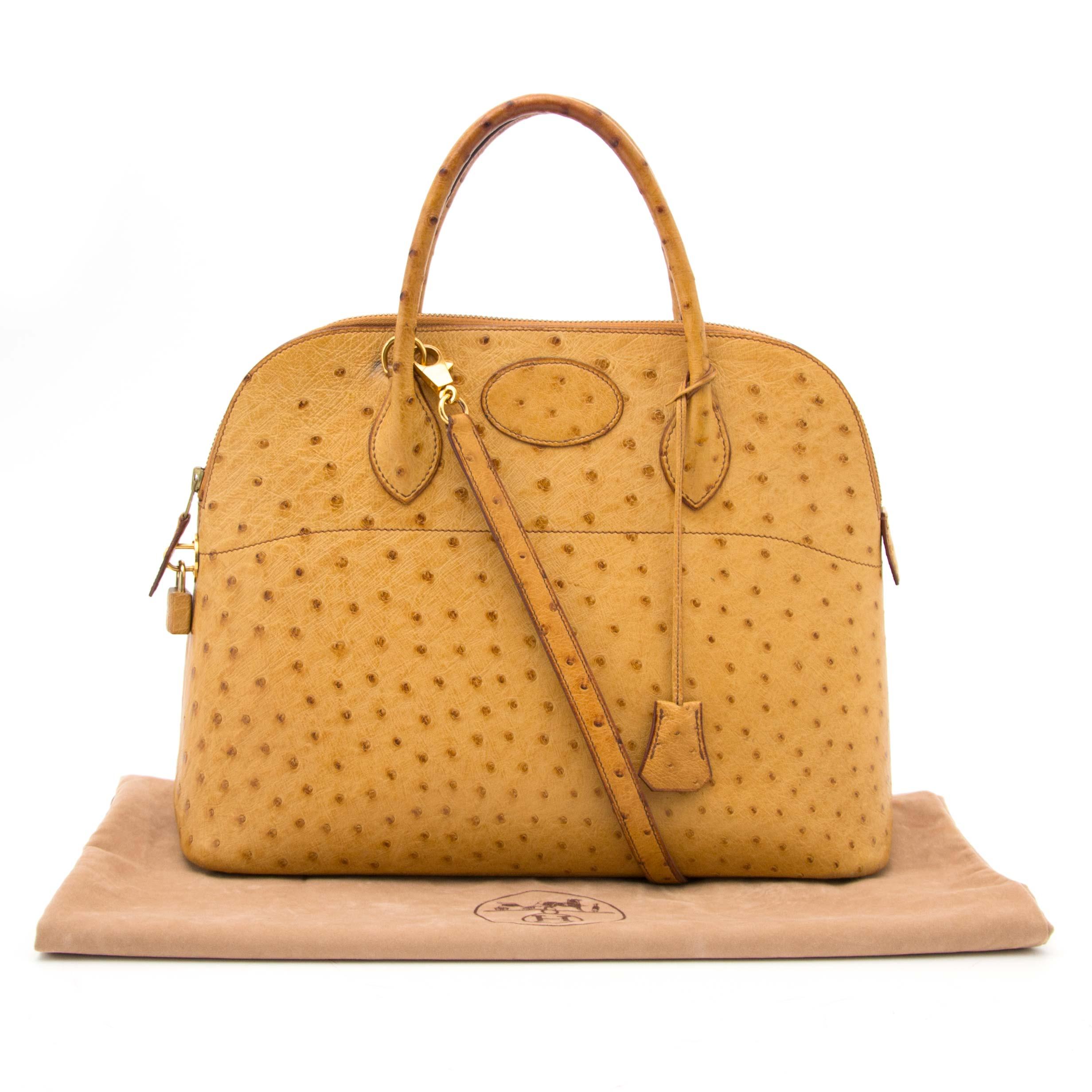 pour le  meilleur prix seconde main Hermes Ostrich Bolide 34 Bag