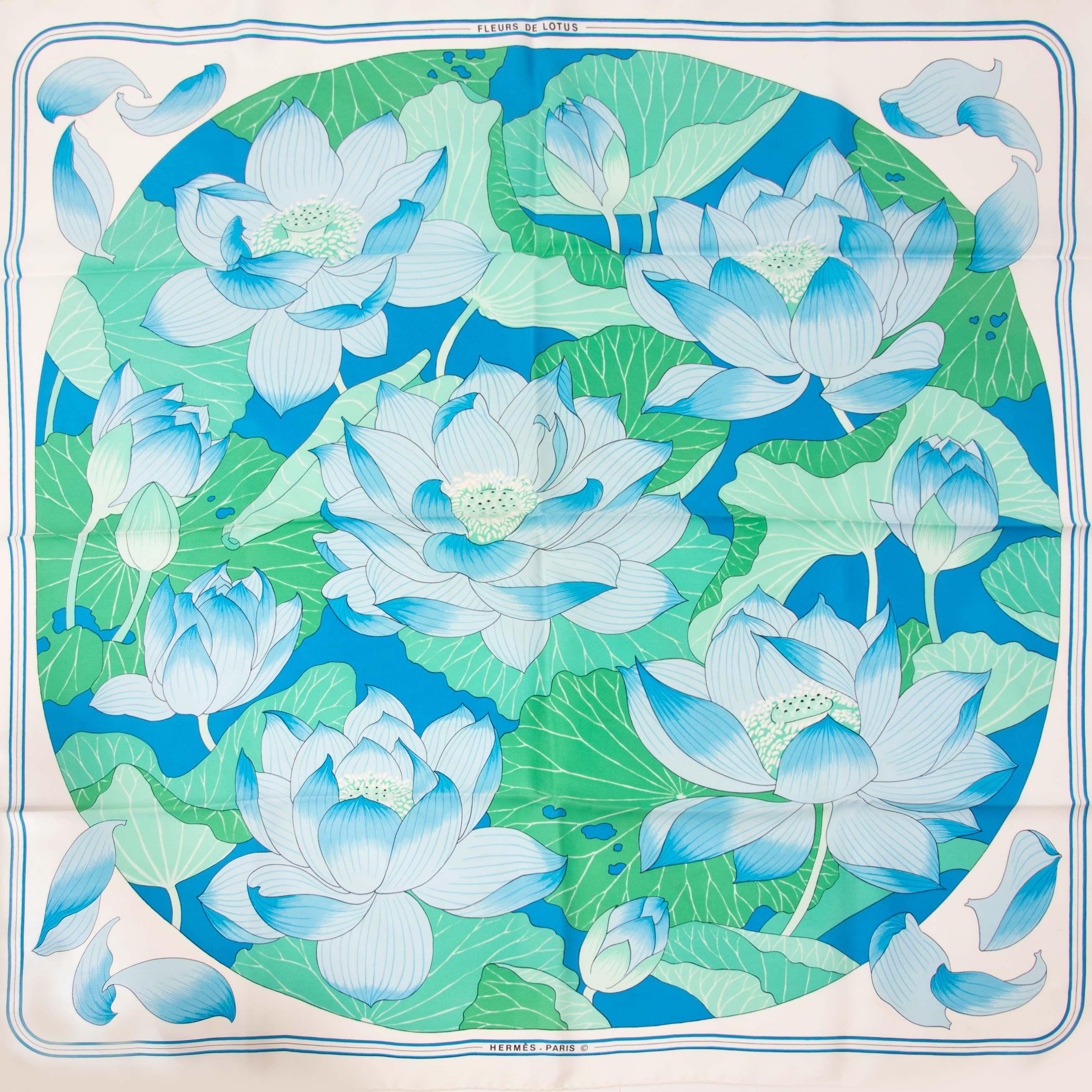Hermès Carré Fleures de lotus in blue and green colors