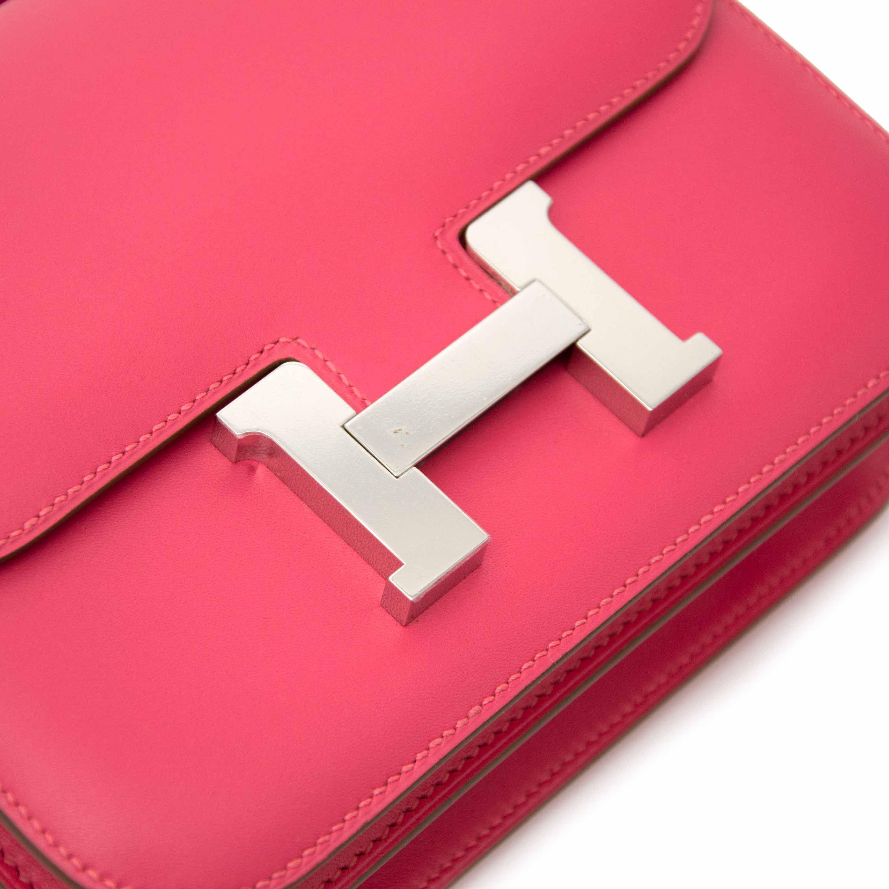 Exclusive Hermès Constance III Mini Rose Lipstick Veau Tadelakt PHW