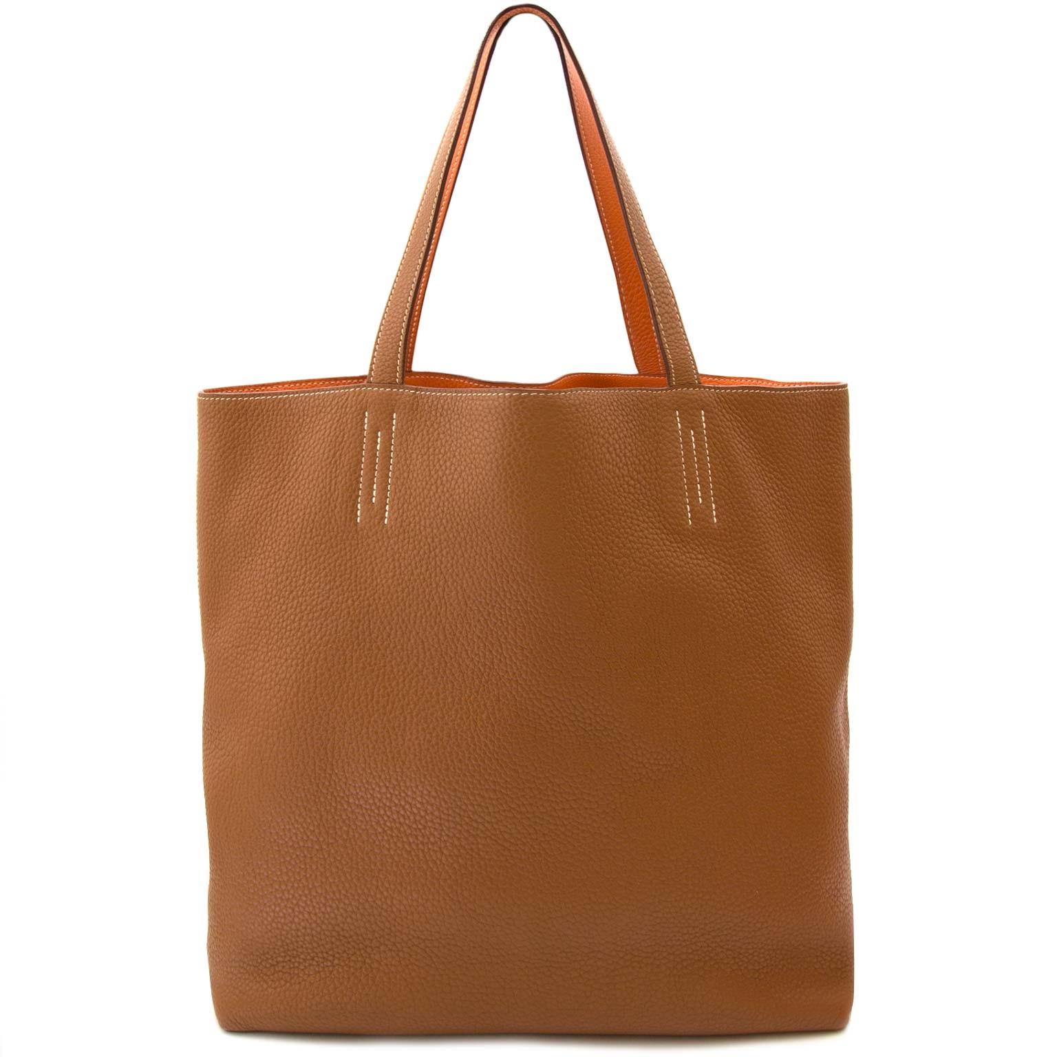 buy authentic hermès double sense 45 indian brown & orange clemence bag at labellov vintage fashion webshop belgium
