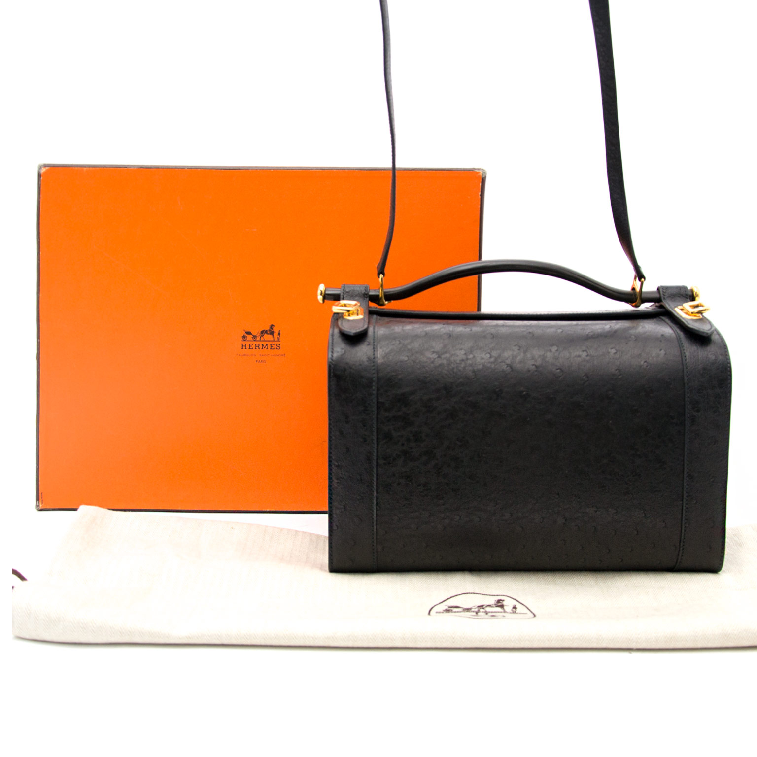 Very Rare Hermès Black Ostrich Sac Mallette Handbag available exclusively online at Labellov timeless luxury in Antwerp