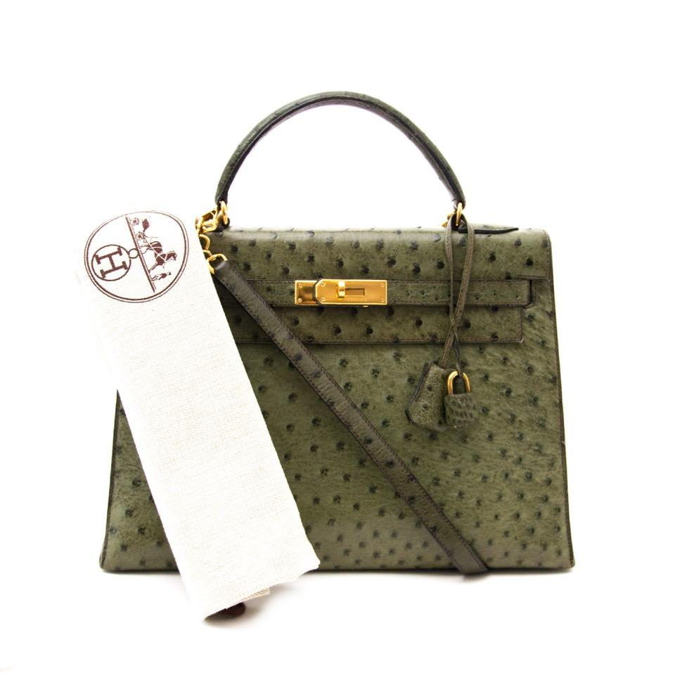 koop veilig online aan de beste prijs Rare Hermès Kelly Ostrich Vert Olive 32cm boetiek en webshop Antwerpen