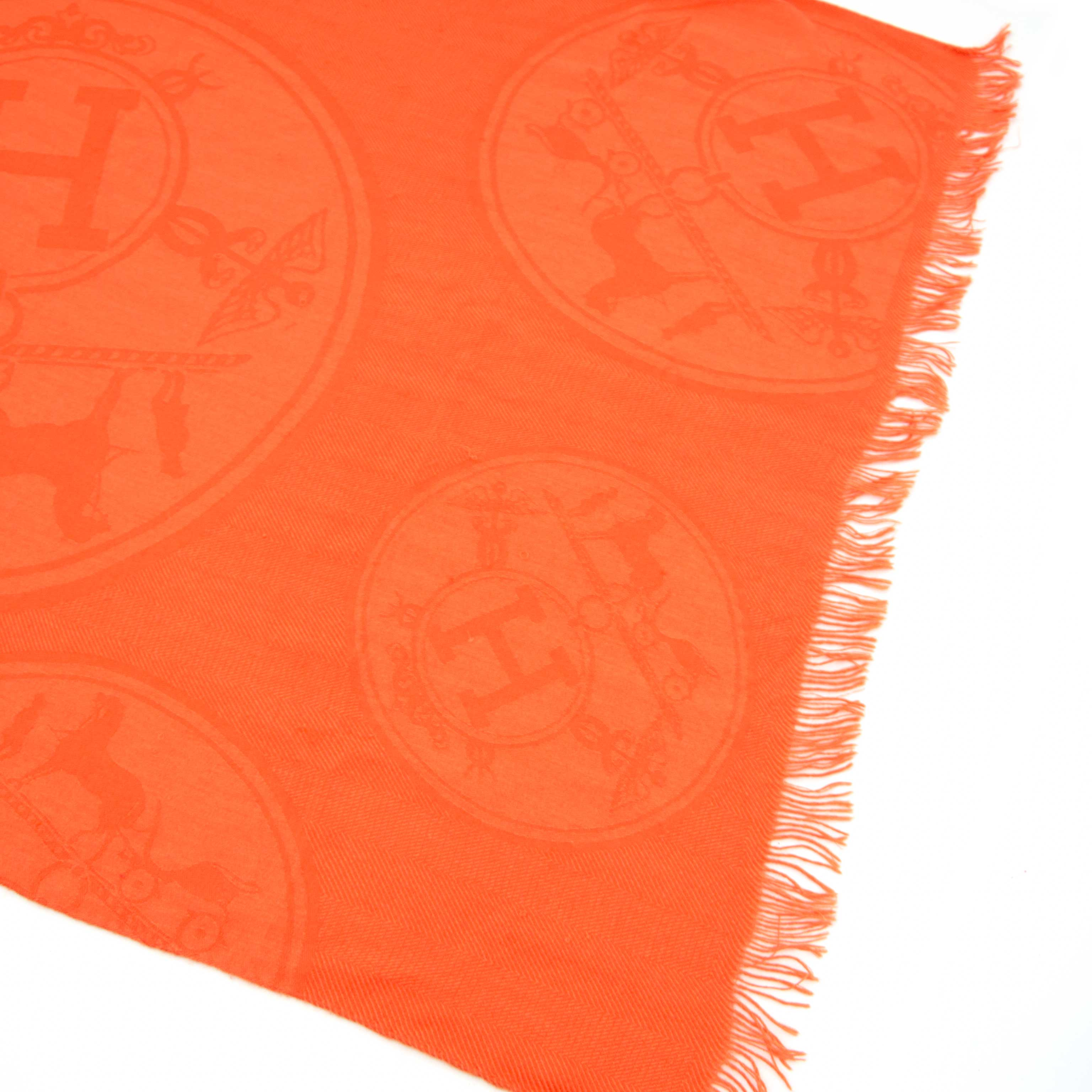 Are you looking for an auhtnetic Hermès Orange Cashmere Wrap Scarf