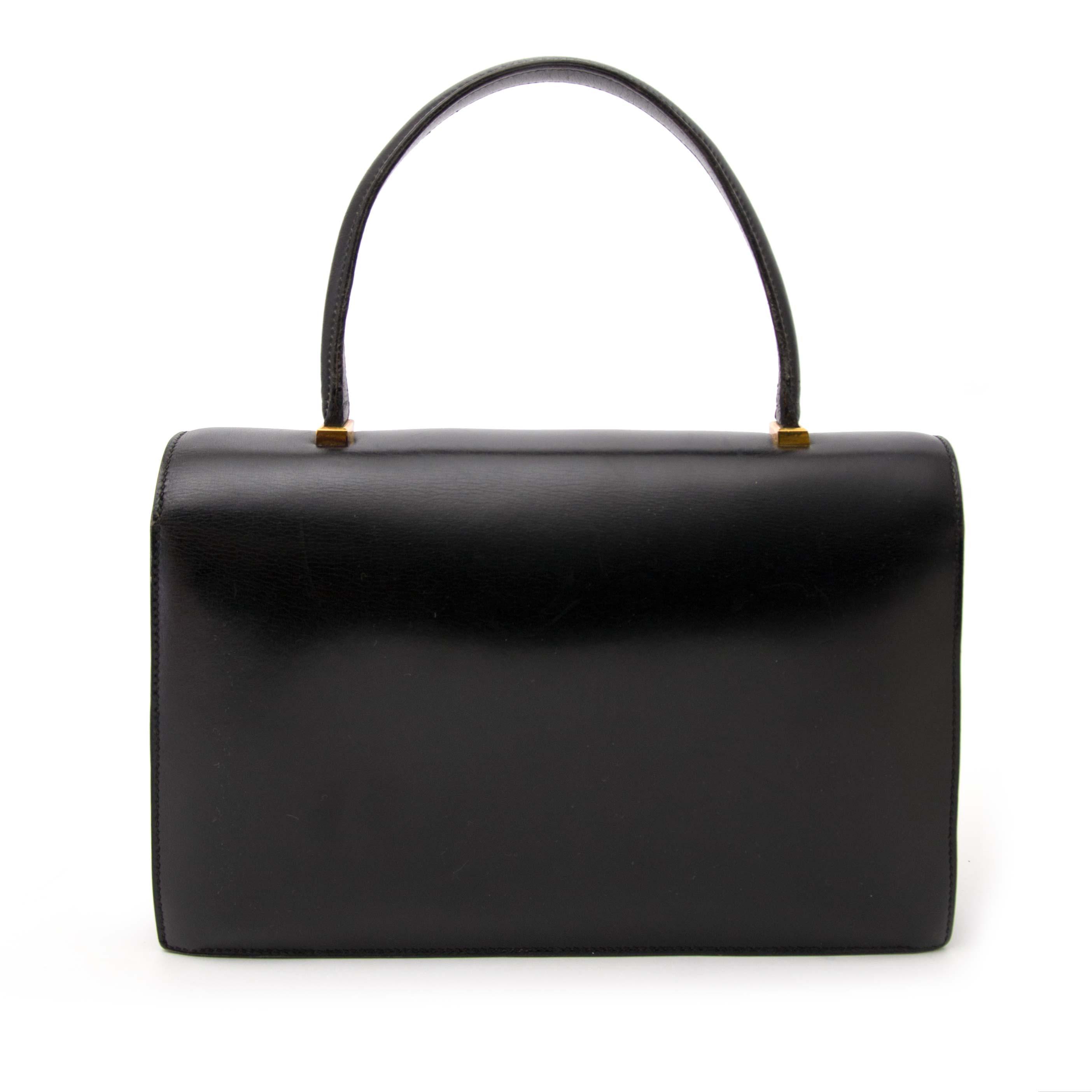 Authentique Hermès sac à main noir Labellov