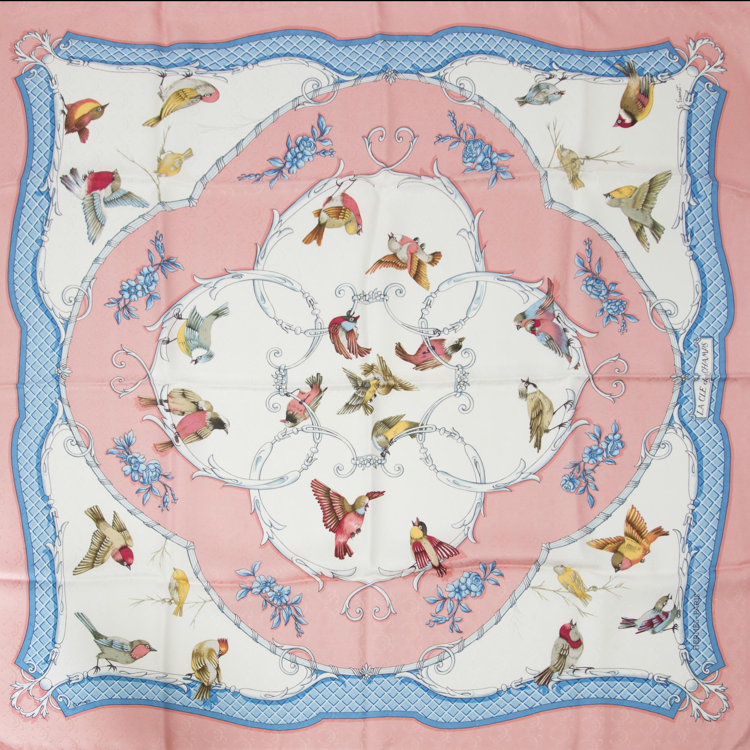 Authentic secondhand Hermes scarf birds