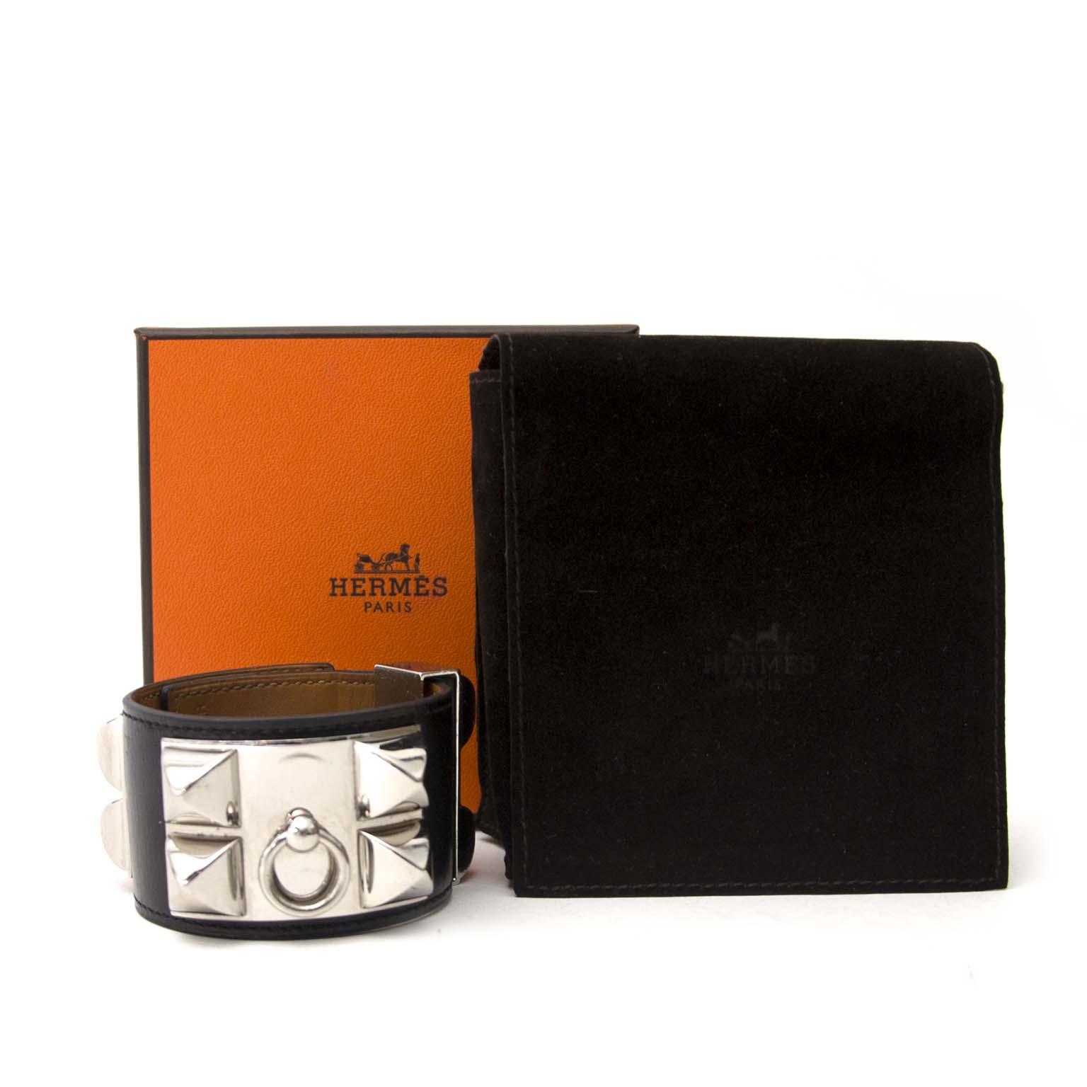 acheter en ligne seconde main Hermès Collier de Chien Bracelet Black Boxcalf PHW