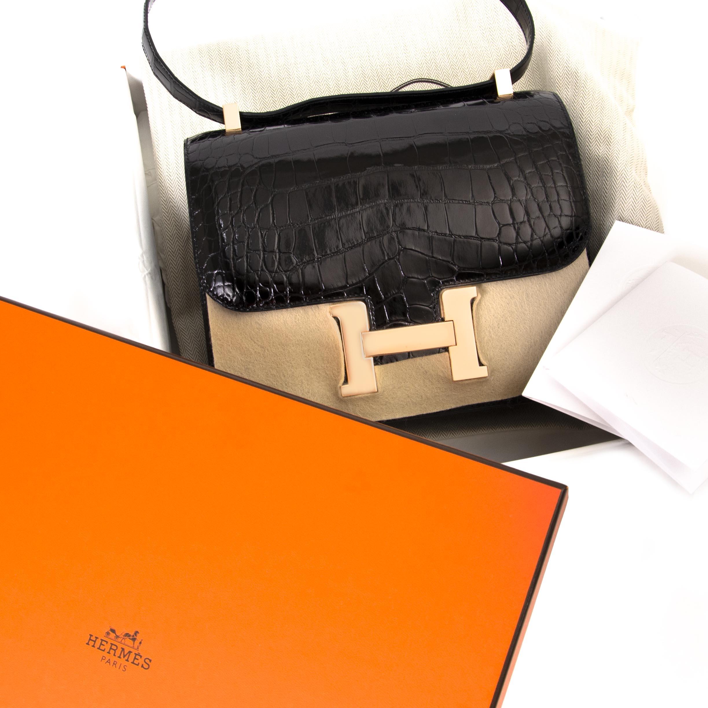 Hermès Constance Alligator Mississipiensis Lisse Noir Rose Gold Hardware te koop aan de beste prijs bij Labellov